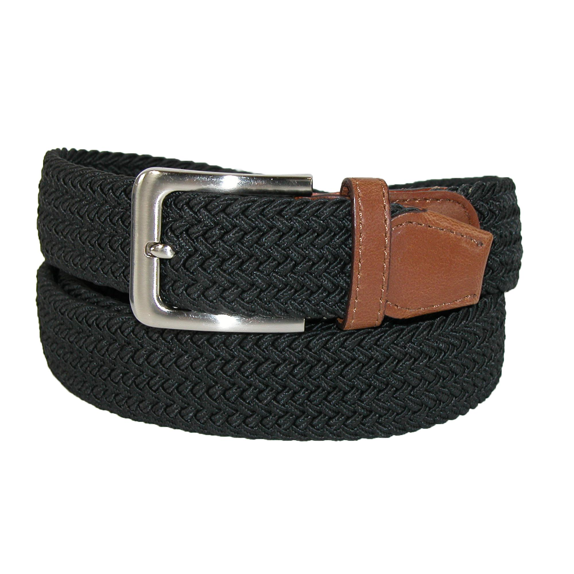 Ctm Mens Big & Tall Elastic Braided Belt With Silver Buckle And Tan Tabs