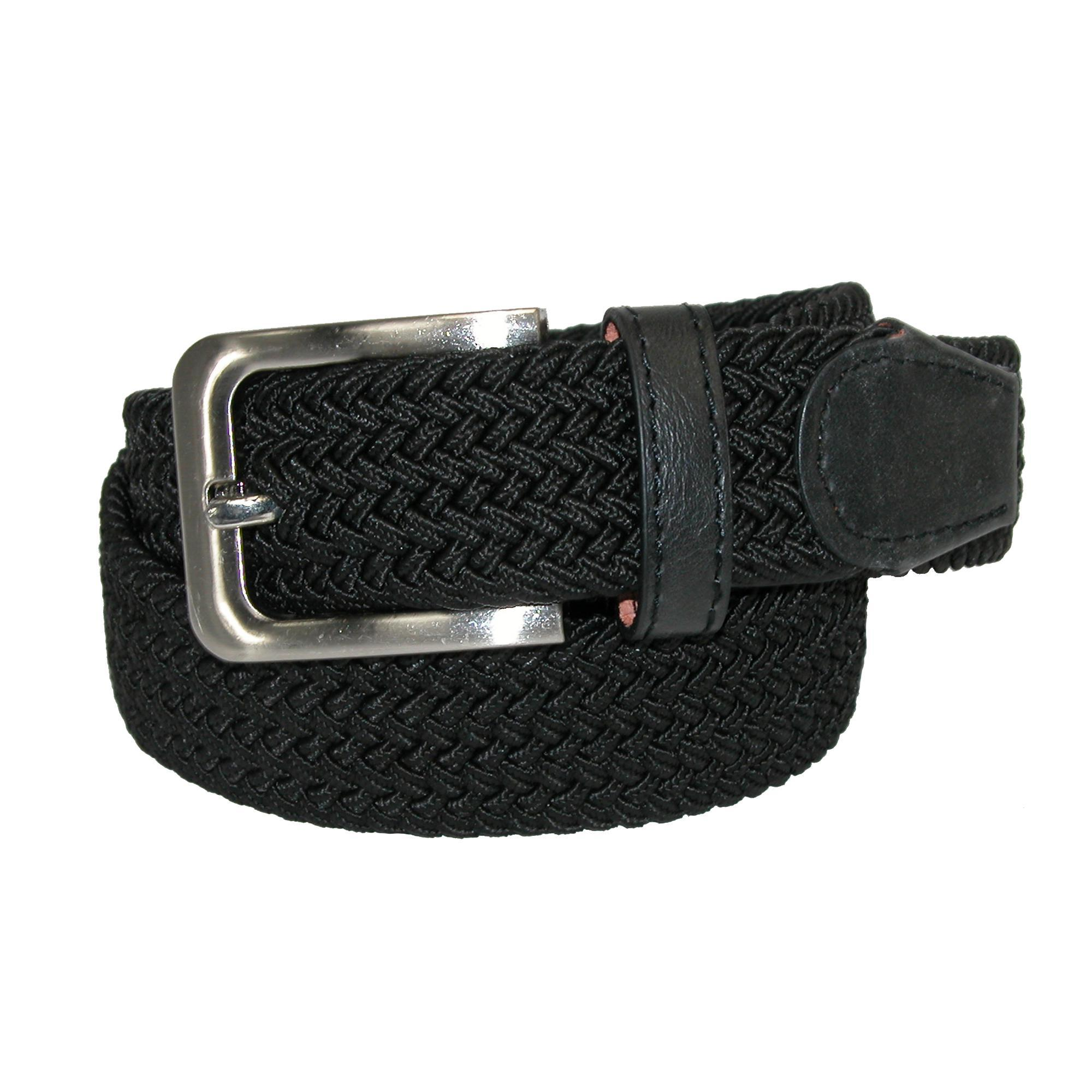 Ctm Mens Elastic Braided Stretch Belt With Silver Buckle