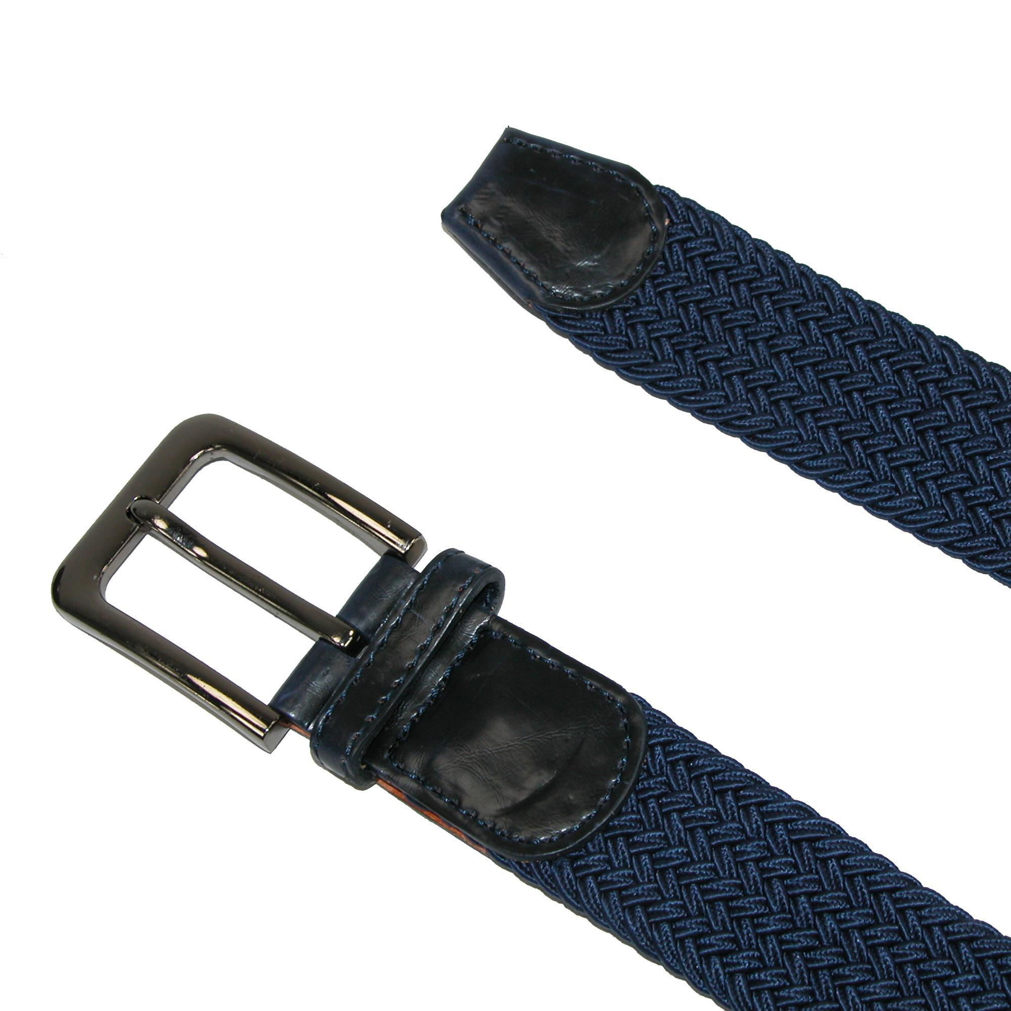 New CTM Men/'s Elastic Braided Stretch Belt with Silver Buckle