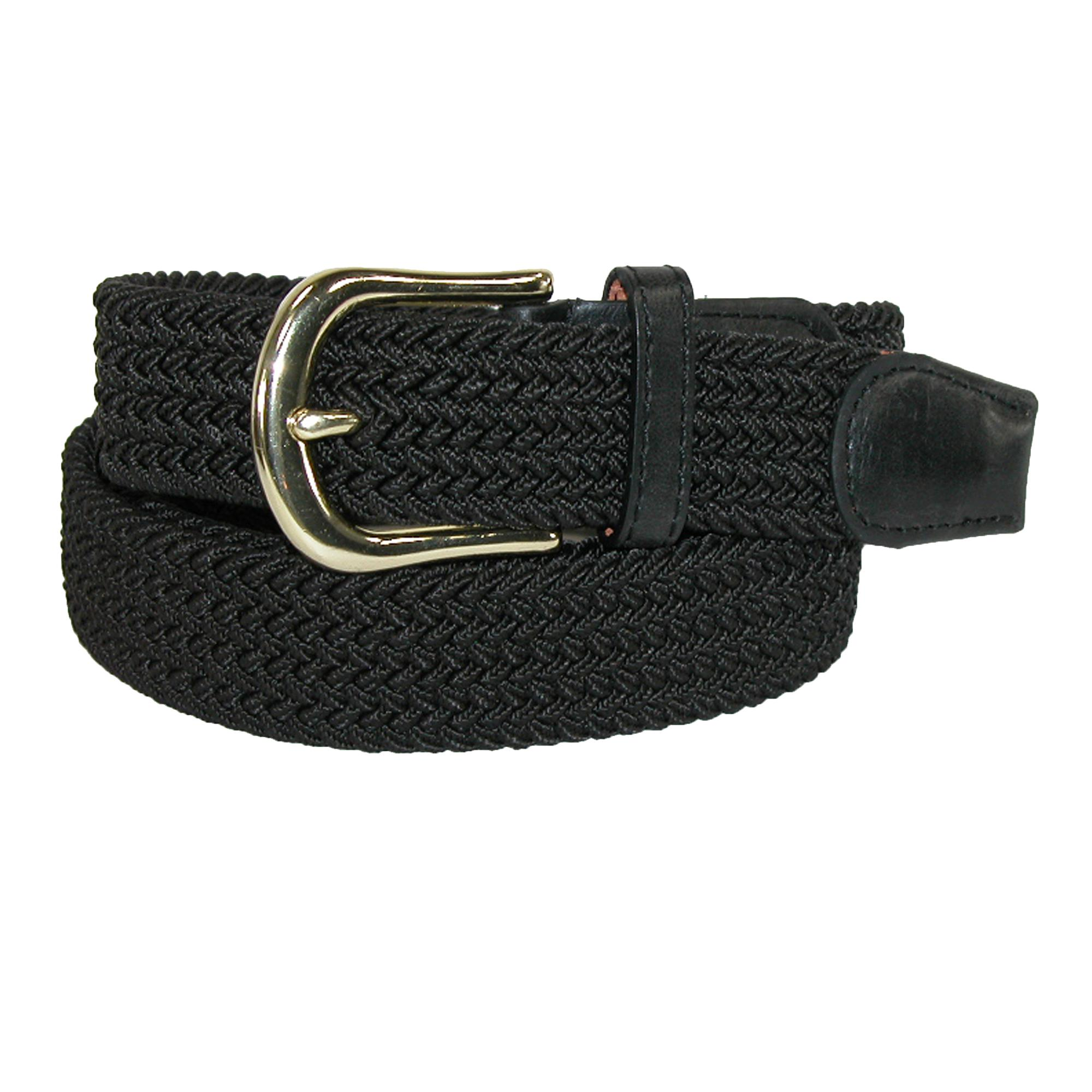 Ctm Mens Elastic Stretch Belt With Gold Buckle And Matching Tabs