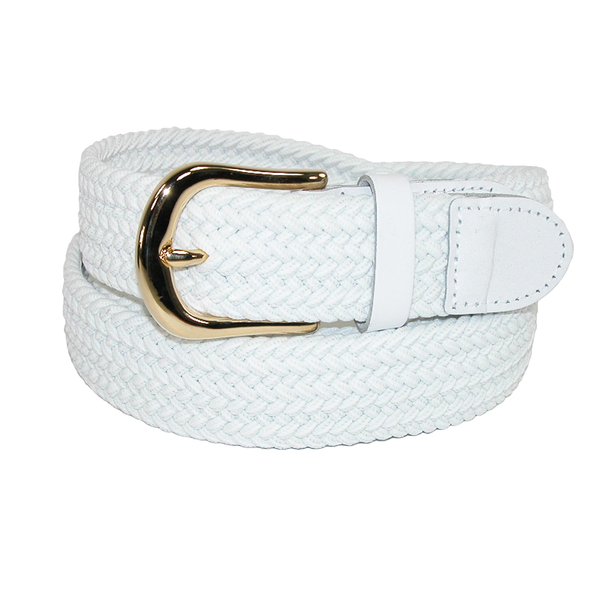 CTM Men's Elastic Stretch Belt with Gold Buckle and Matching Tabs