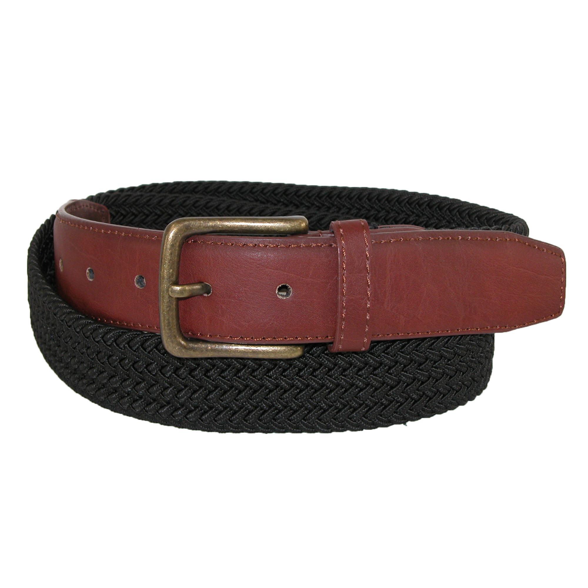 Ctm Mens Elastic Braided 1 1/4 Inch Golf Belt