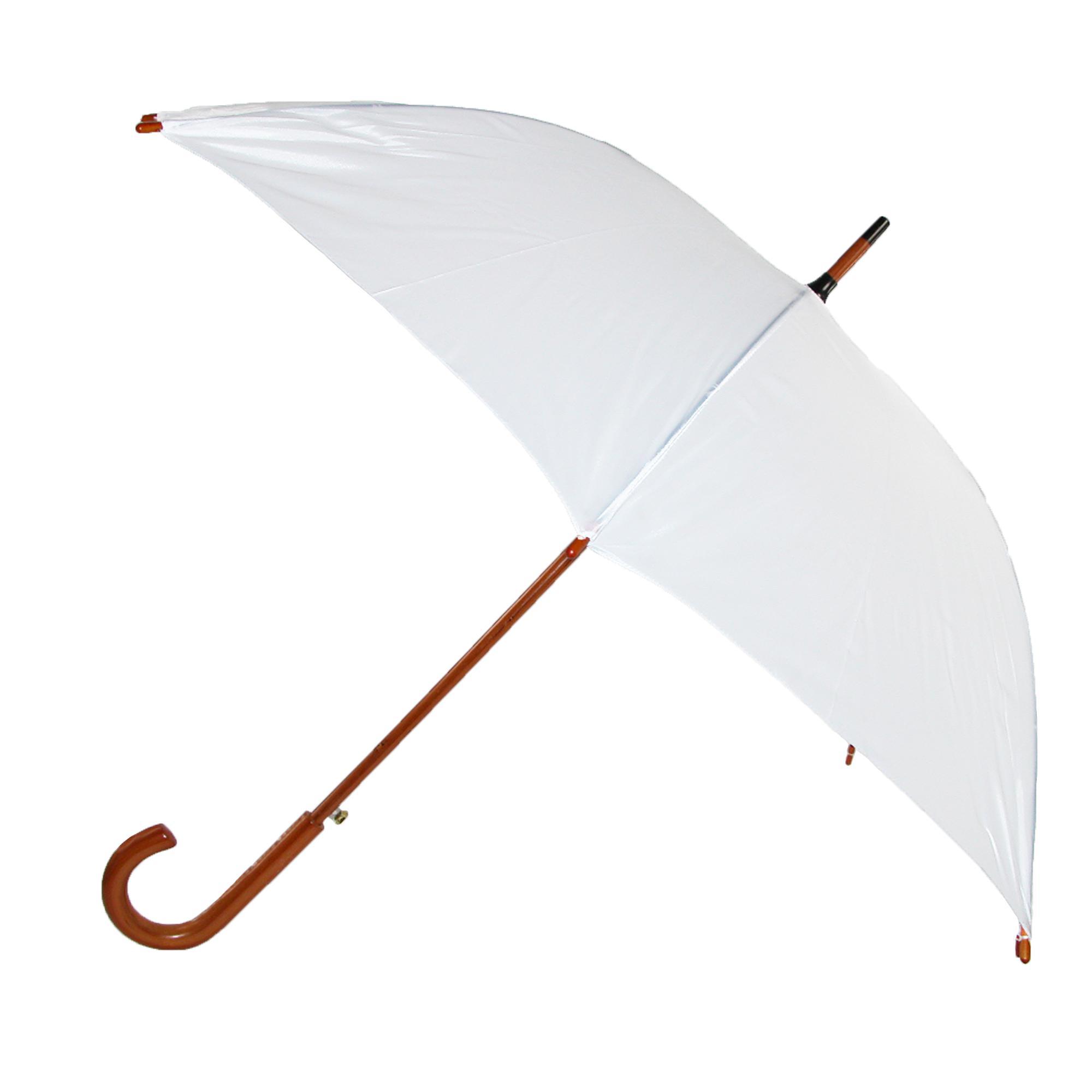 iRain Women's White Auto Open Wood Handle Wedding Umbrella