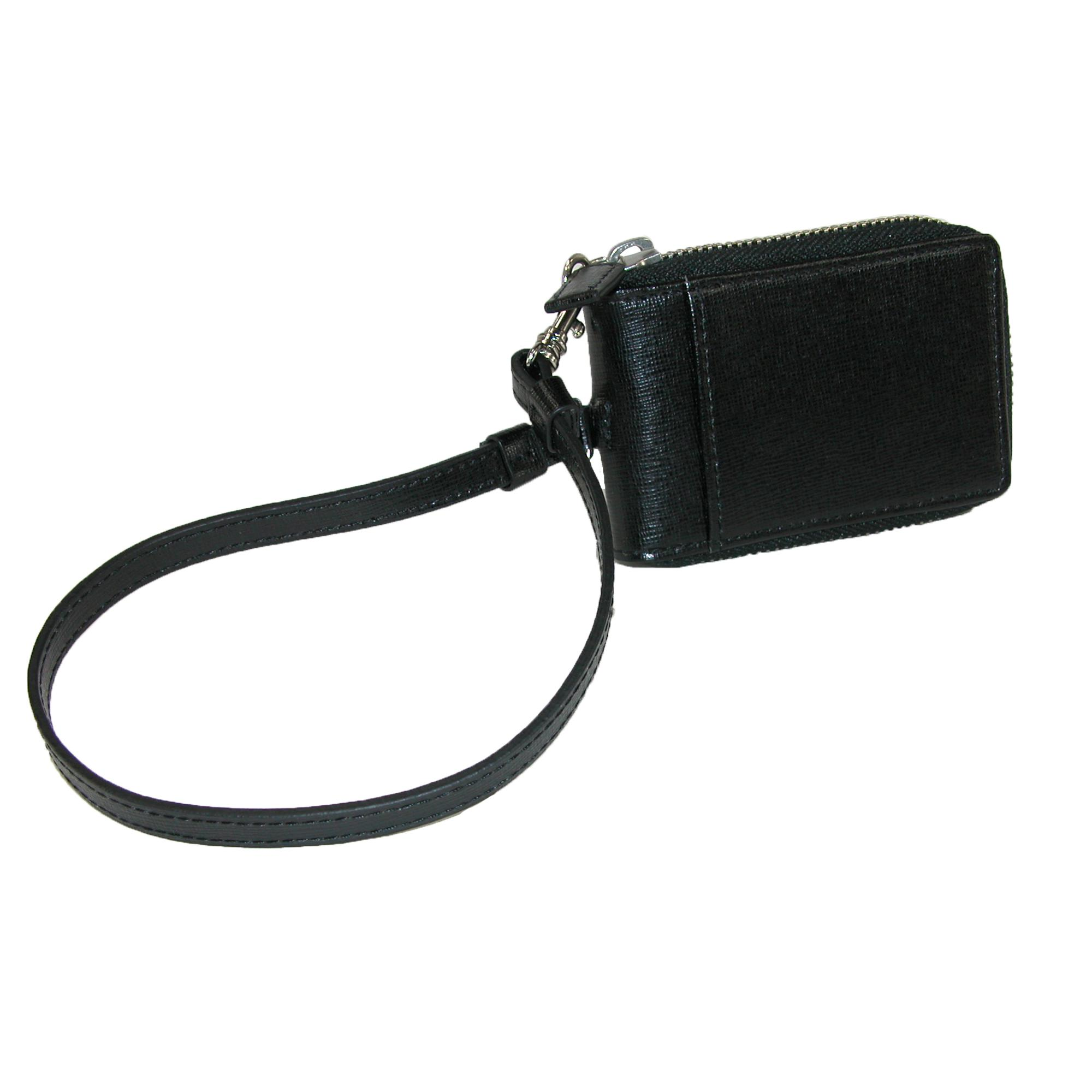 Royce Leather Leather Rfid Blocking Zip Around Key Case With Wrist Strap