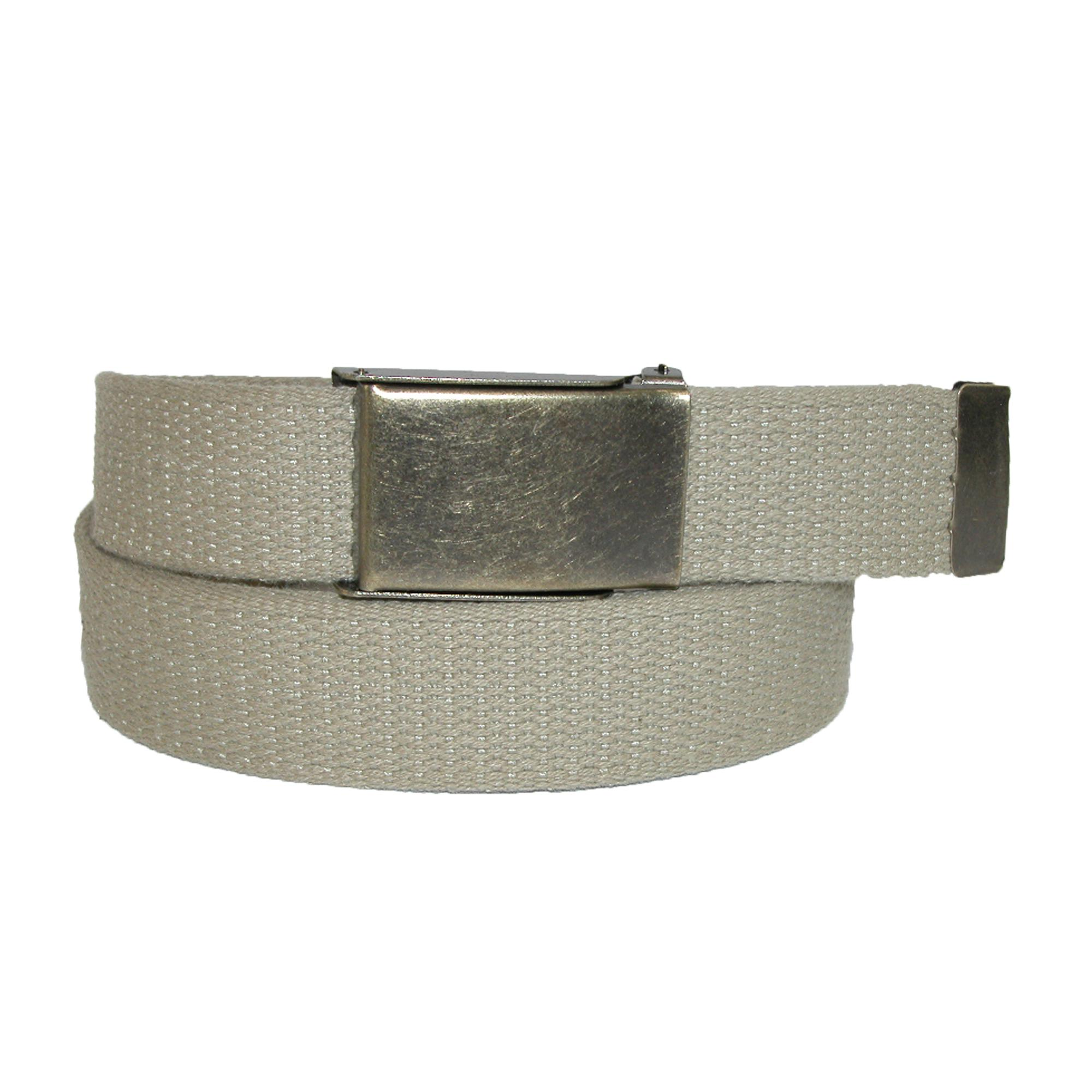 Ctm Mens Fabric Belt With Brass Flip Top Buckle