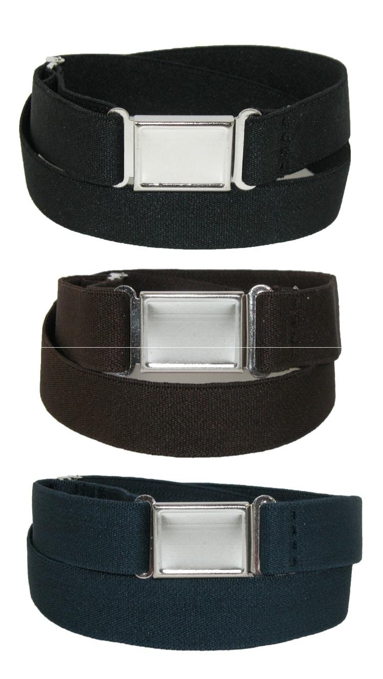 Measuring less than an inch wide, the style and colors of this belt make a great choice for uniforms. Braided stretch allows for a comfortable fit that moves with you. The polished nickel buckle features a roller for easy cinching.
