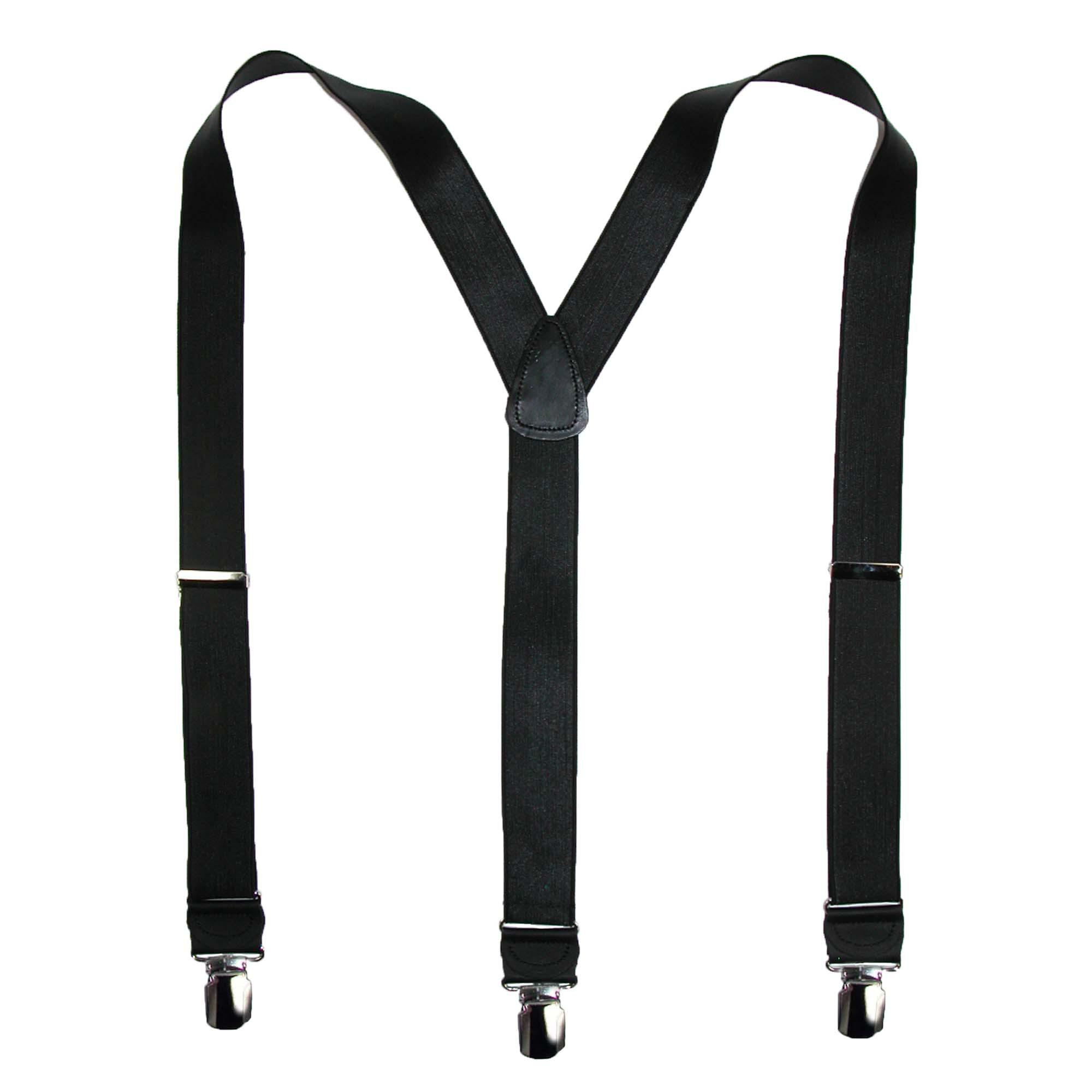 CTM Men's French Satin Clip-End 1 1/2 Inch Suspenders