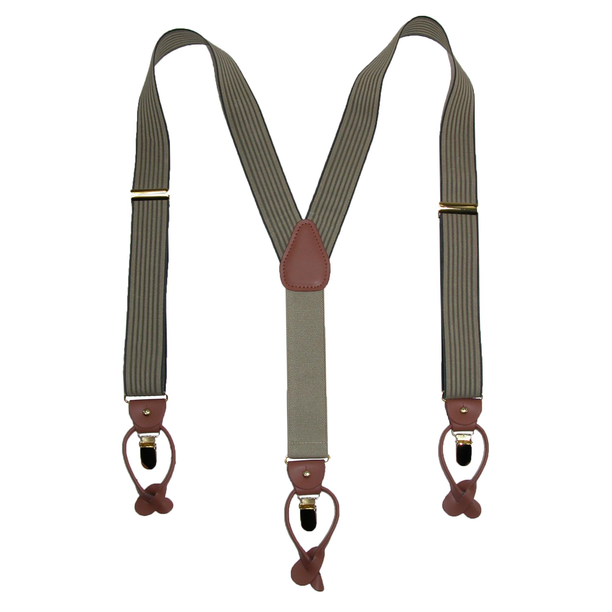 Geoffrey Beene Men's Pin Stripe Convertible Button & Clip End Suspenders