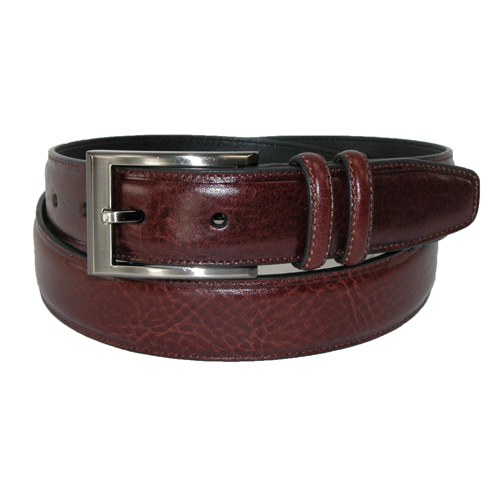 Geoffrey Beene Mens Leather Feather Edge Belt With Double Keeper