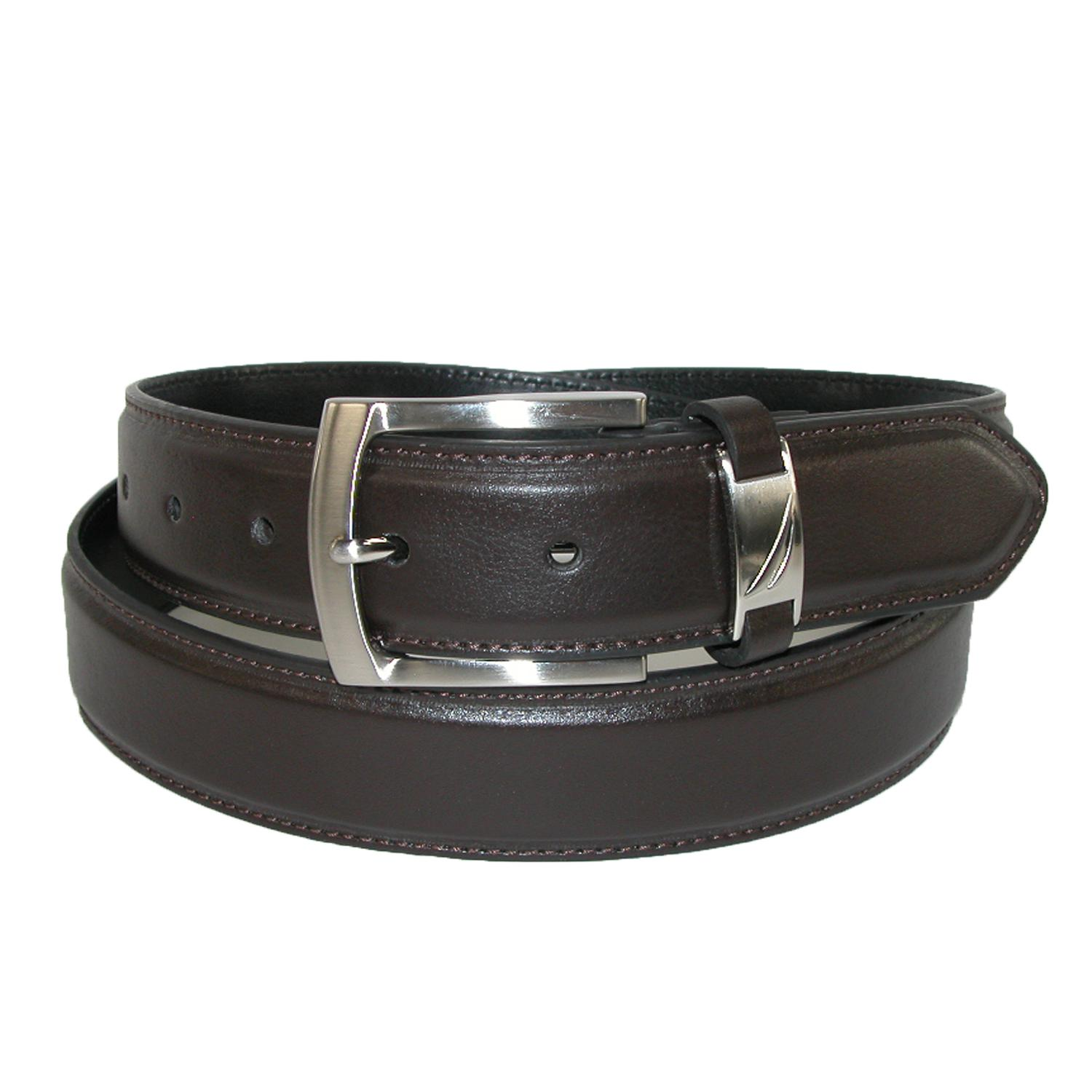 Nautica Mens Leather 40mm Belt With Logo Keeper