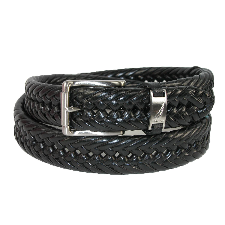 Nautica Mens Leather 1 1/4 Inch Handlaced Basket Weave Braided Belt