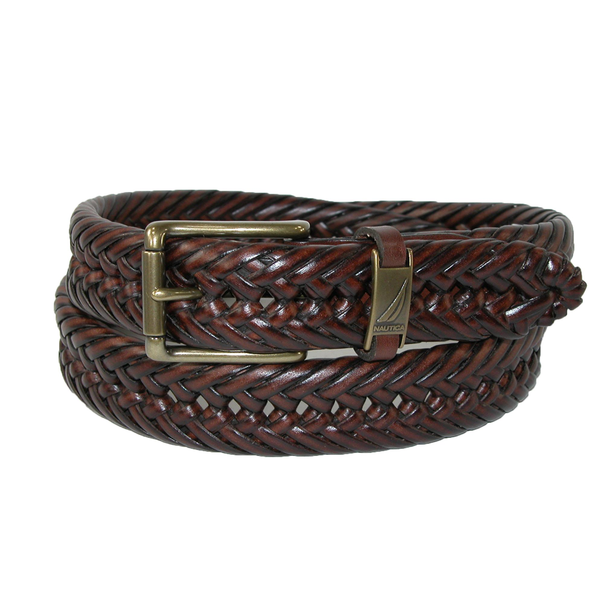 Nautica Mens Leather 1 1/4 Inch Handlaced Basket Weave Braided Belt