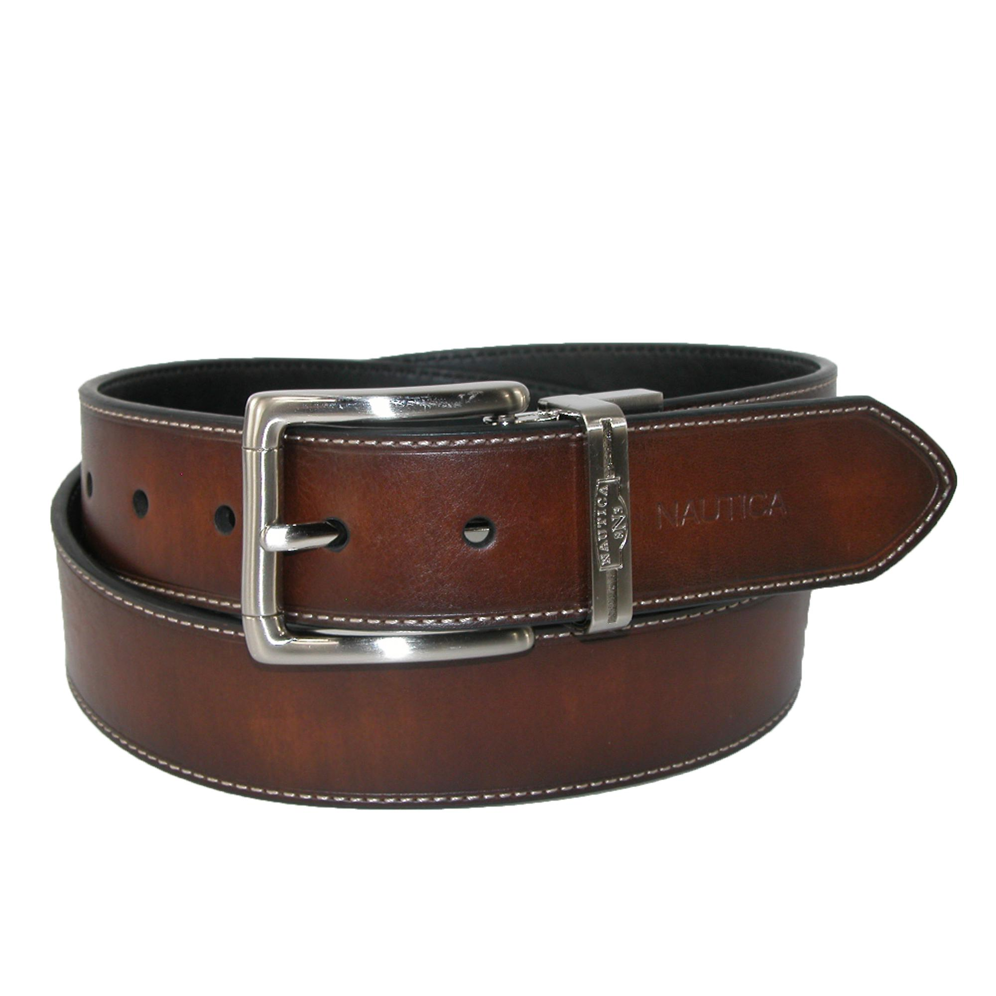 Nautica Mens Leather Reversible Belt With Heat Crease And Contrast Stitch