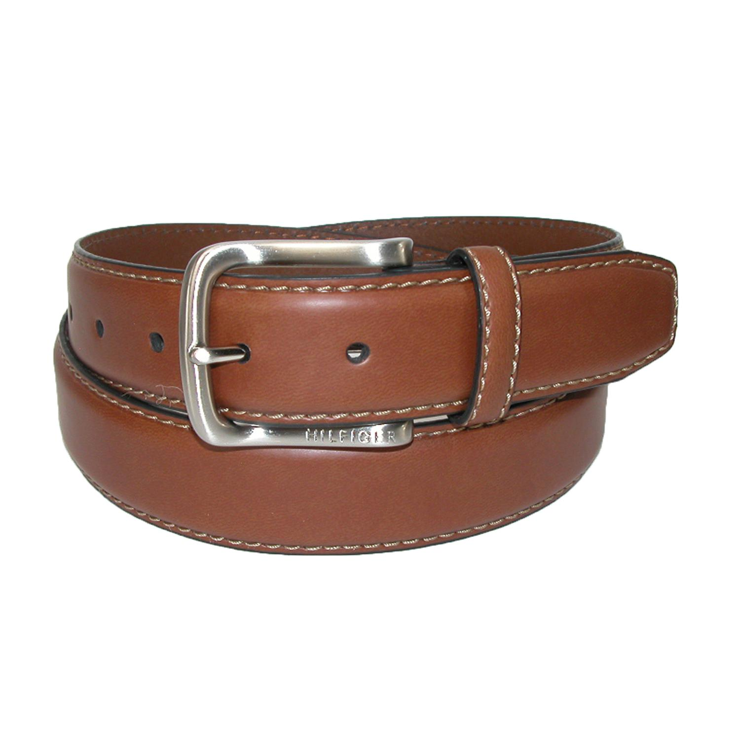 NEW Tommy Hilfiger Mens Leather Stitch Belt with Engraved LogoBrown32 SHIPS FREE