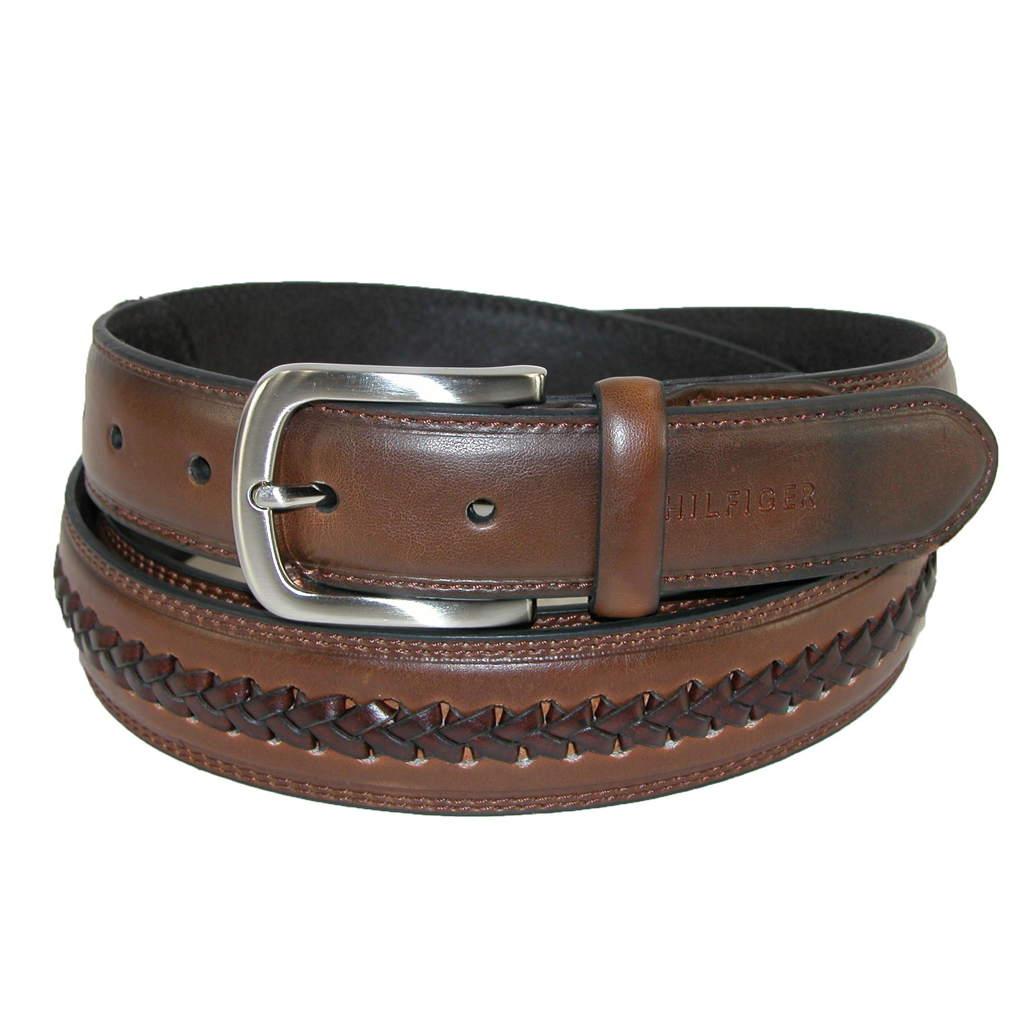 Tommy Hilfiger Men's Big & Tall Leather Center Lace Belt