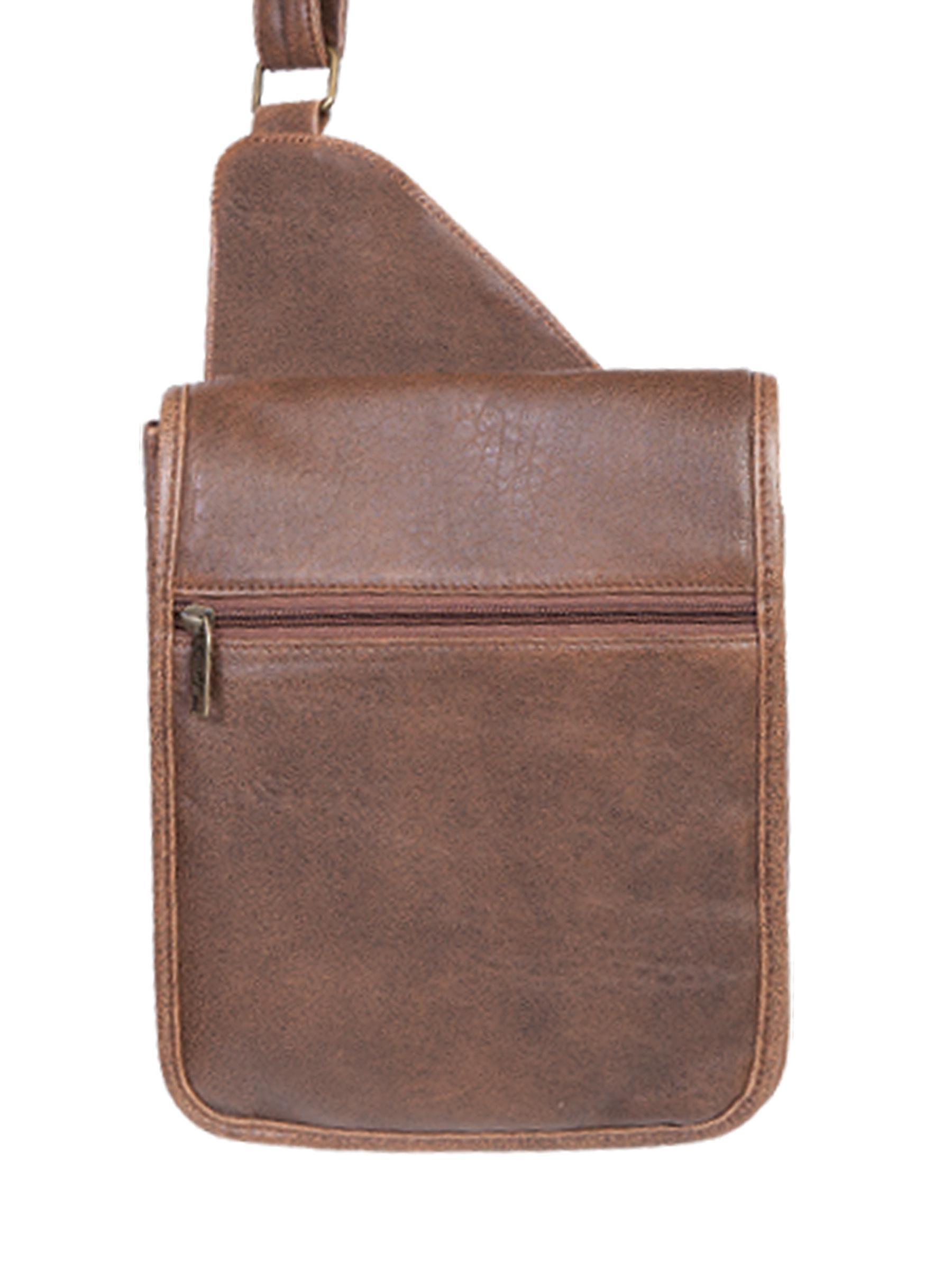 Scully Mens Leather Distressed Aerosquadron Small Man Bag With Organizer