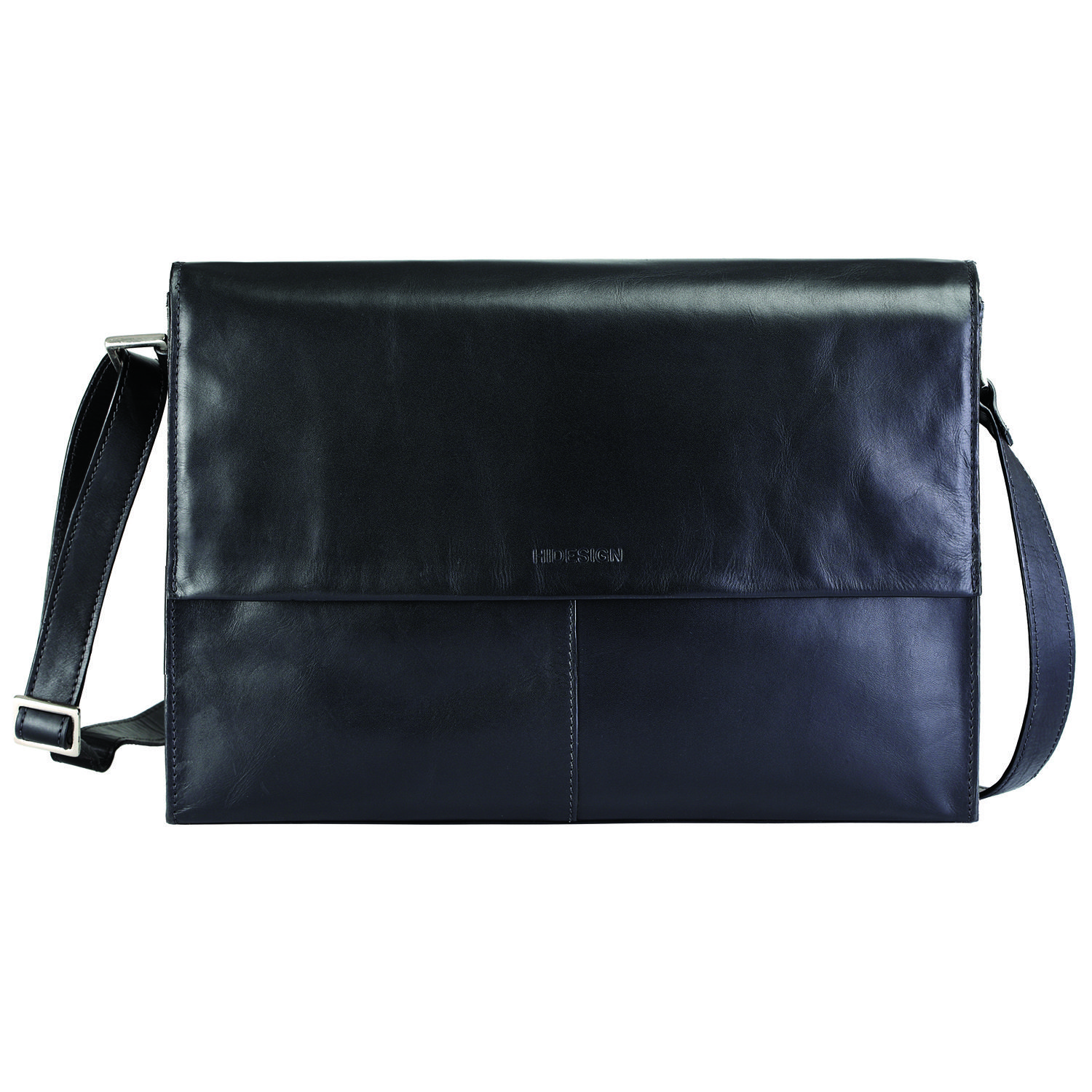Hidesign Men's Leather Messenger Style Briefcase with Padded Laptop Sleeve