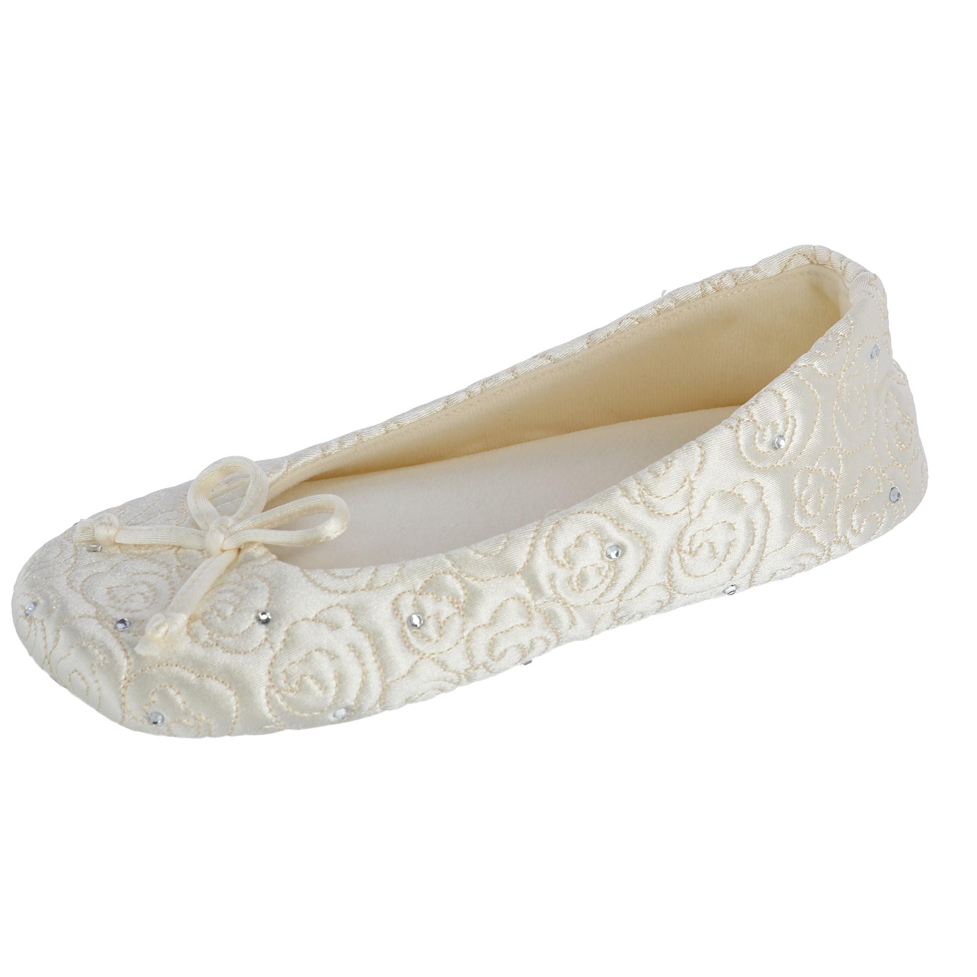 Isotoner Women's Terry Lined Rose Quilted Ballerina Slipp...