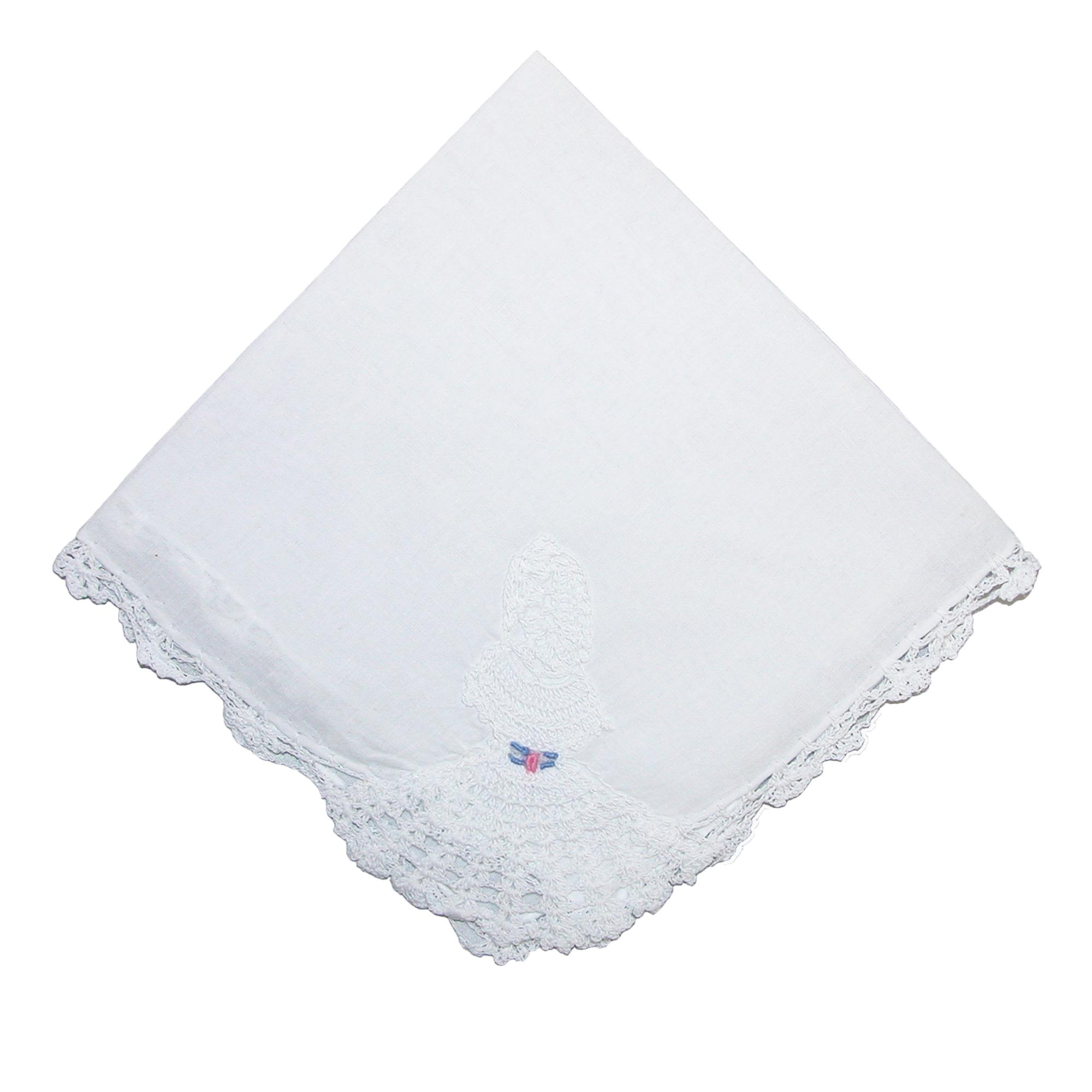CTM Women's Cotton Crinoline Lady Lace Handkerchief