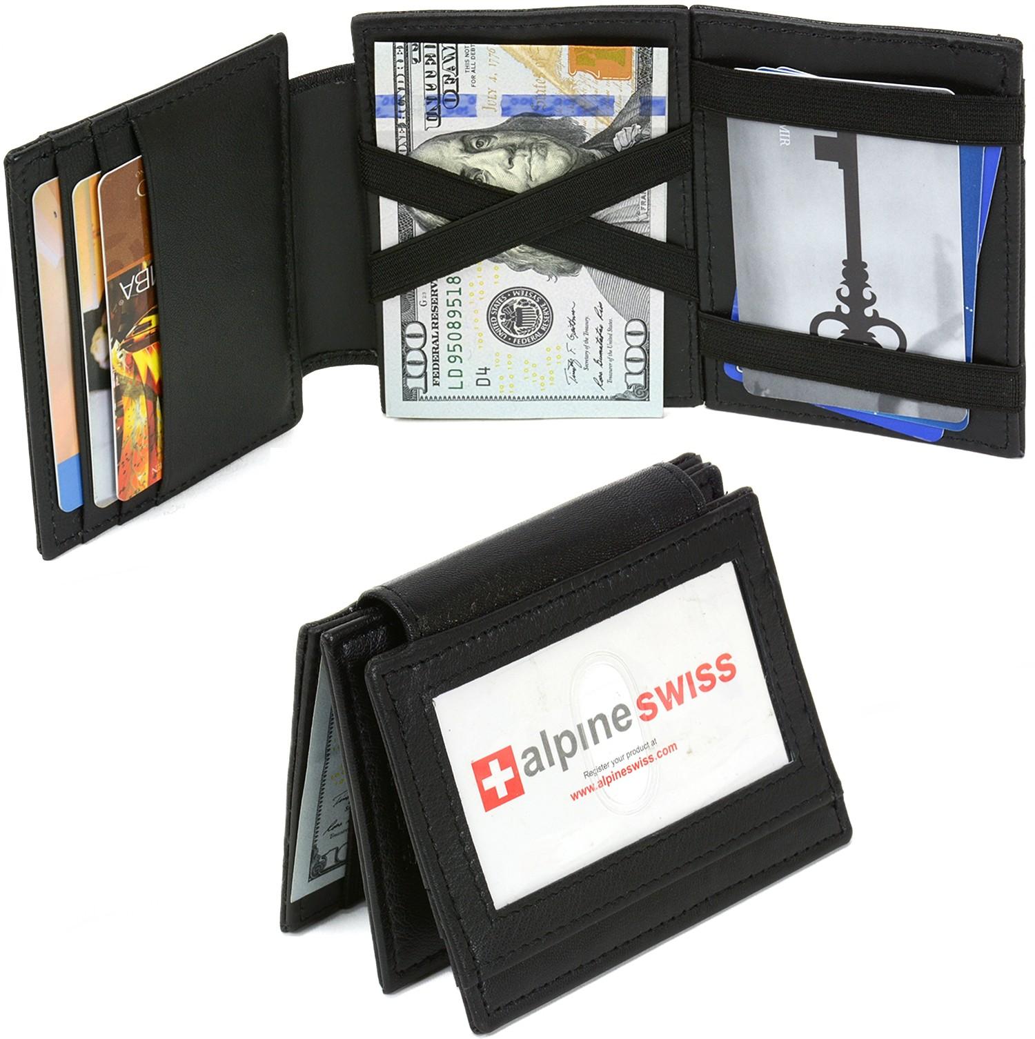 Alpine swiss men 39 s leather magic wallet id window 9 card for 2 id window wallet