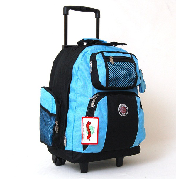 "18"" Wheeled Backpack Roomy Rolling Book Bag Drop Handle Carry ..."