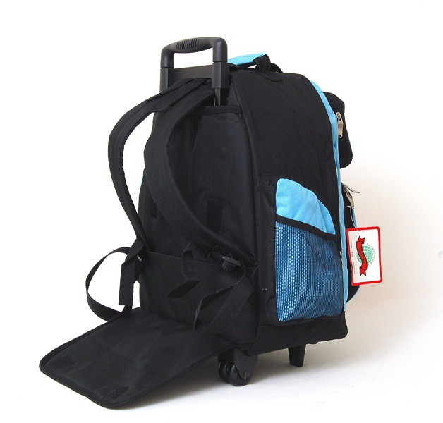 18 034 Wheeled Backpack Roomy Rolling Book Bag Drop Handle Carry on ...