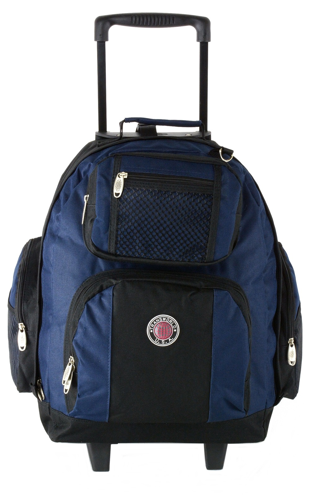 18 wheeled backpack roomy rolling book bag w handle carry on luggage back pack ebay