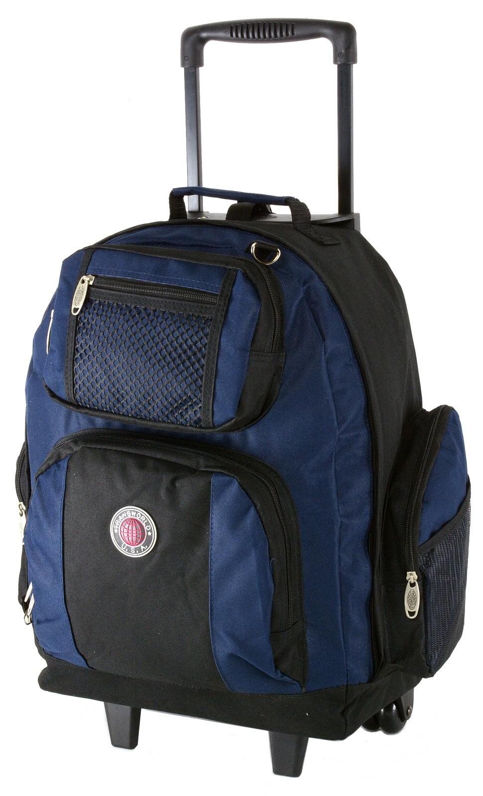 "18"" Wheeled Backpack Roomy Rolling Book Bag W/ Handle ..."