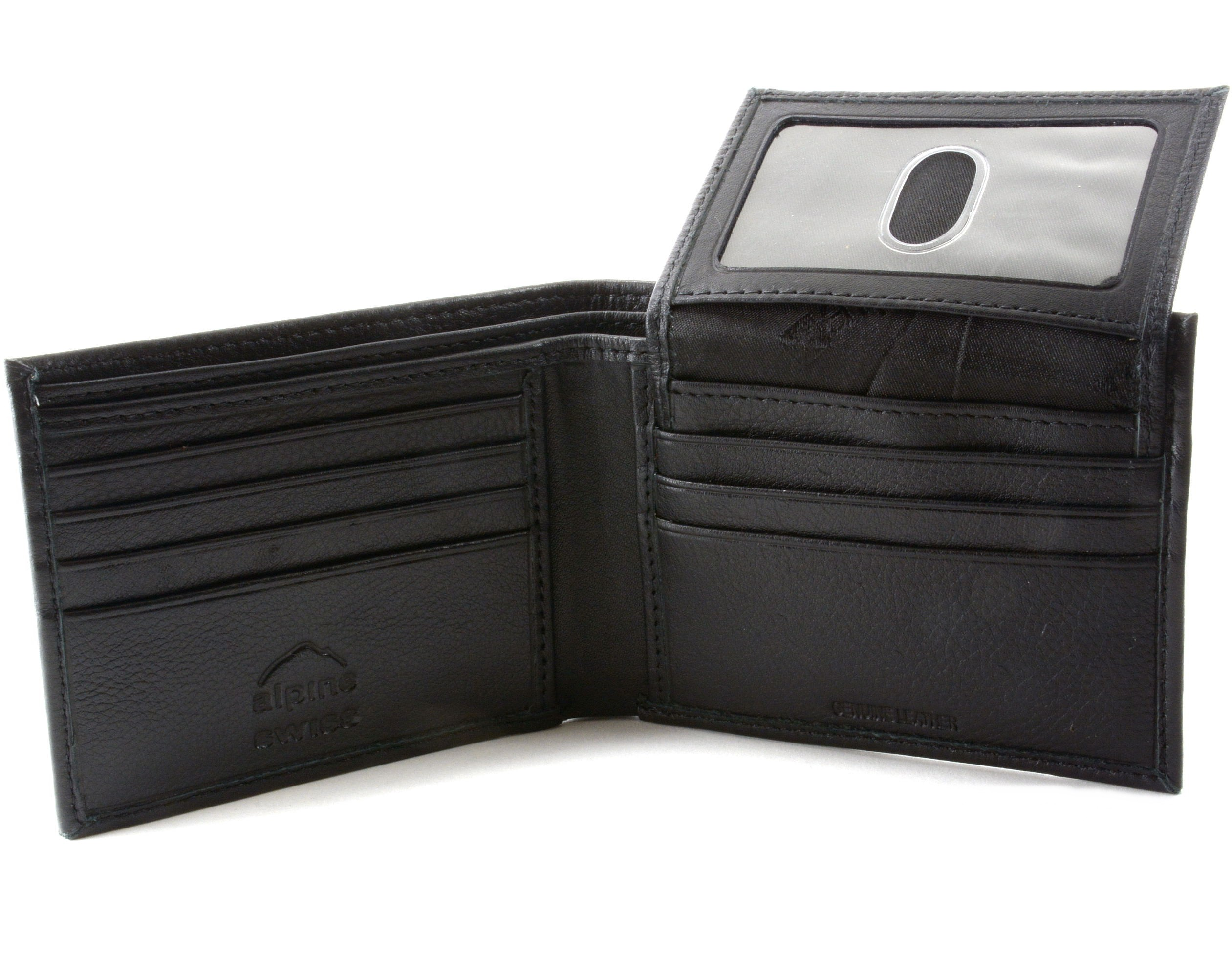 Alpine Swiss Mens Wallet Genuine Leather Removable ID Card Case Bifold Passcase | eBay