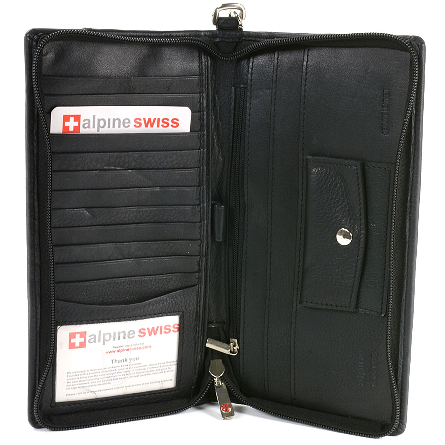 Alpine Swiss Passport Case Leather Organizer Zippered