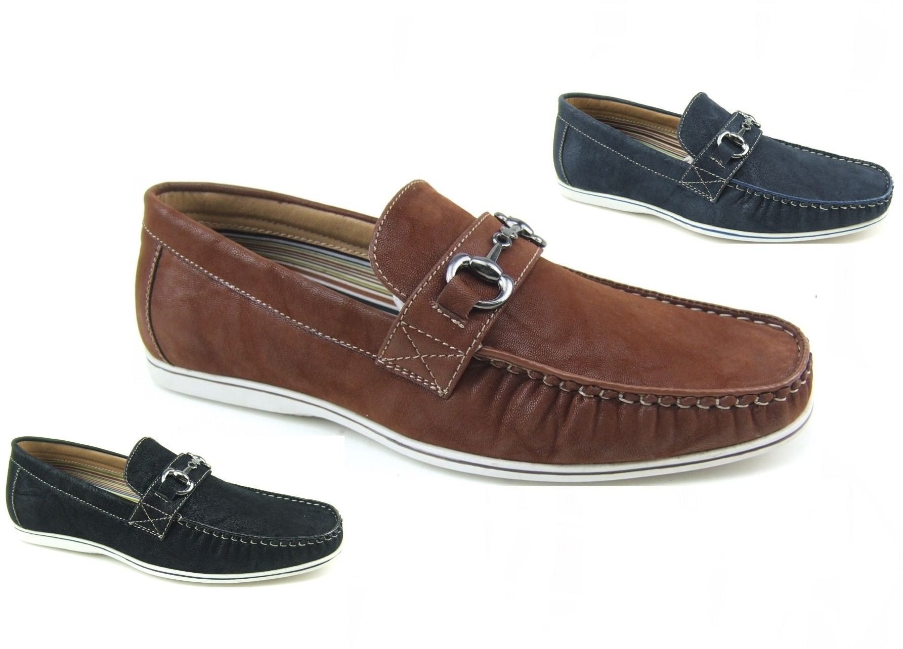 Mens Buckle Loafers Slip On Shoes Moccasin Toe Stitching ...
