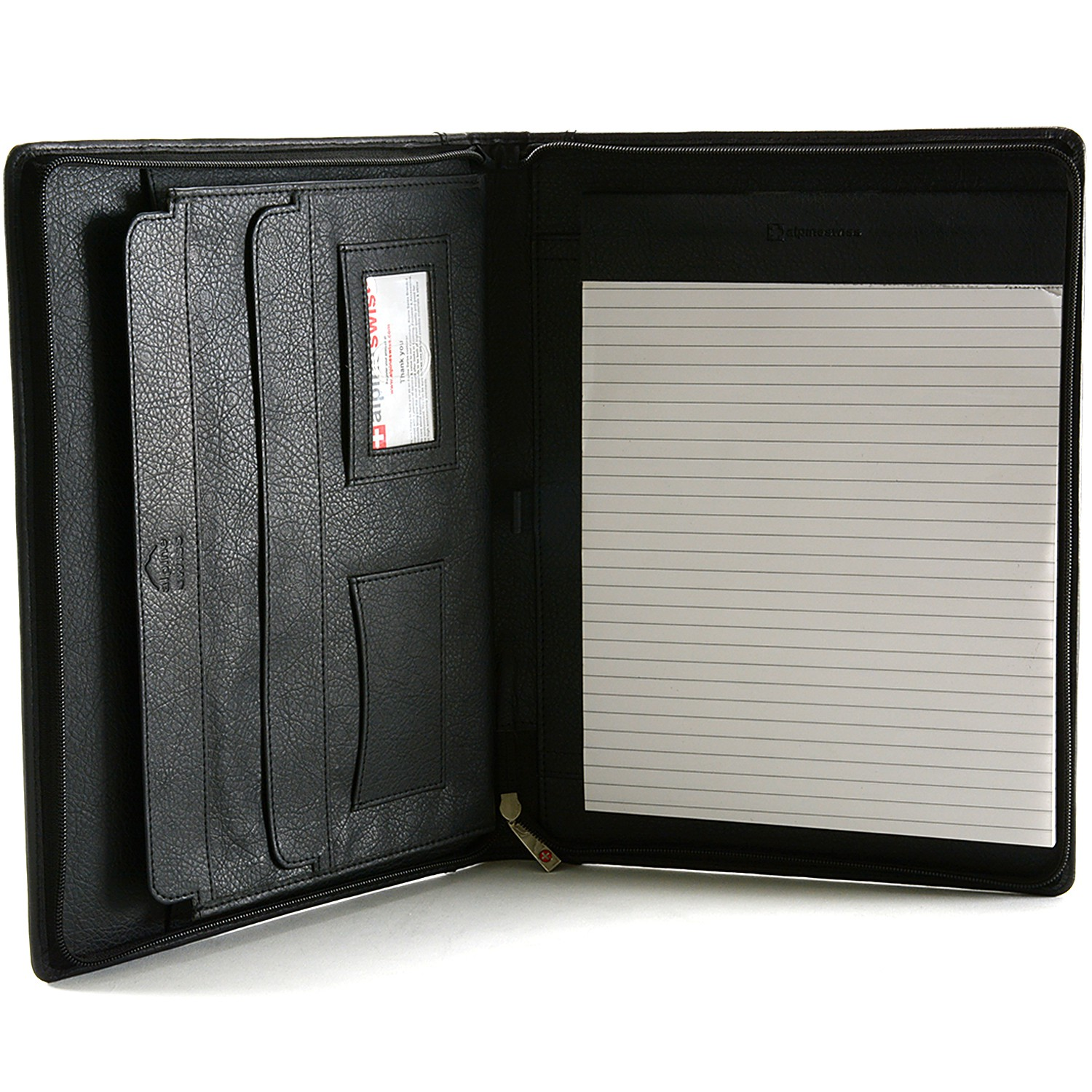 Alpine Swiss Leather Zippered Writing Pad Portfolio