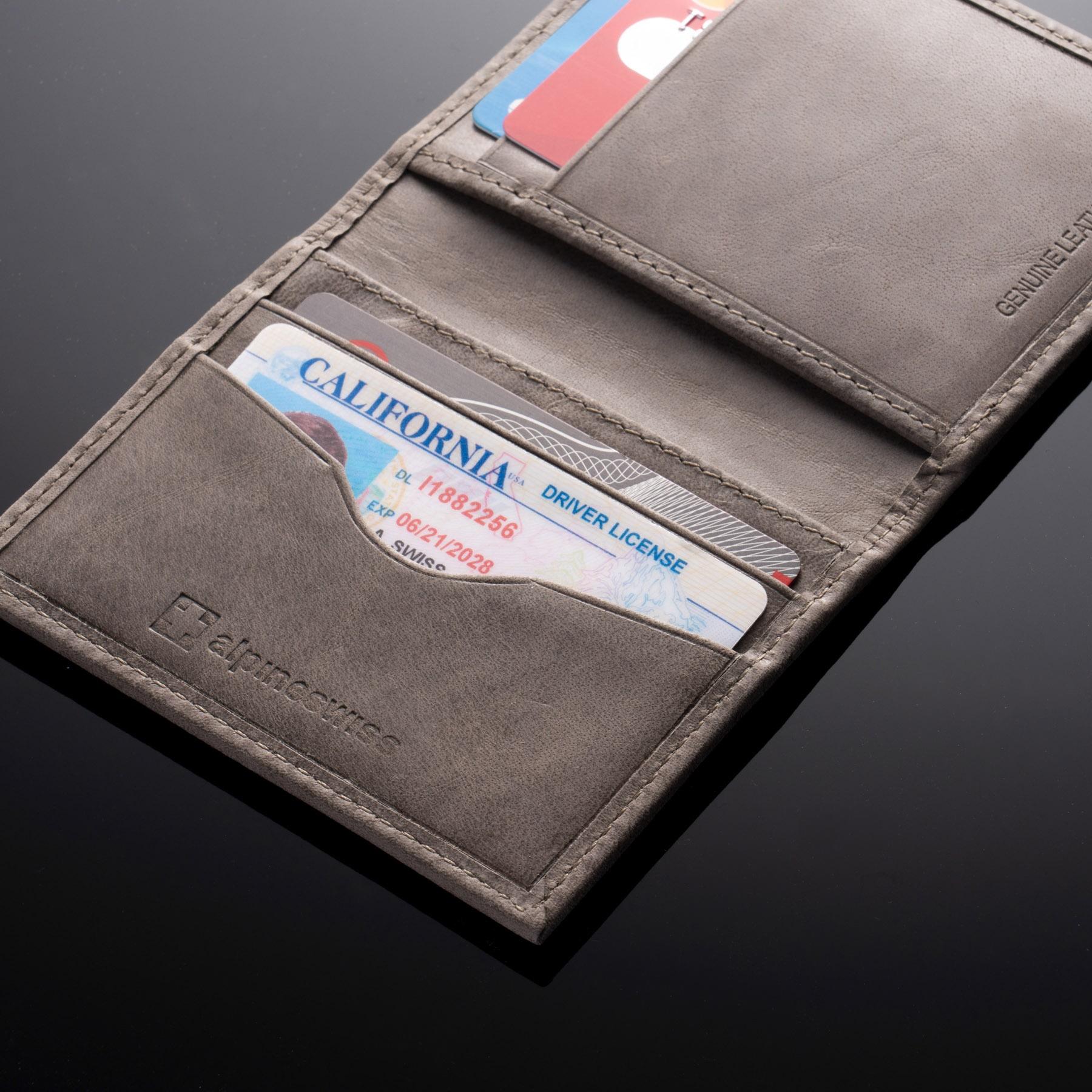 Alpine Swiss RFID Blocking Slim Business Card Case Leather Front Pocket Wallet