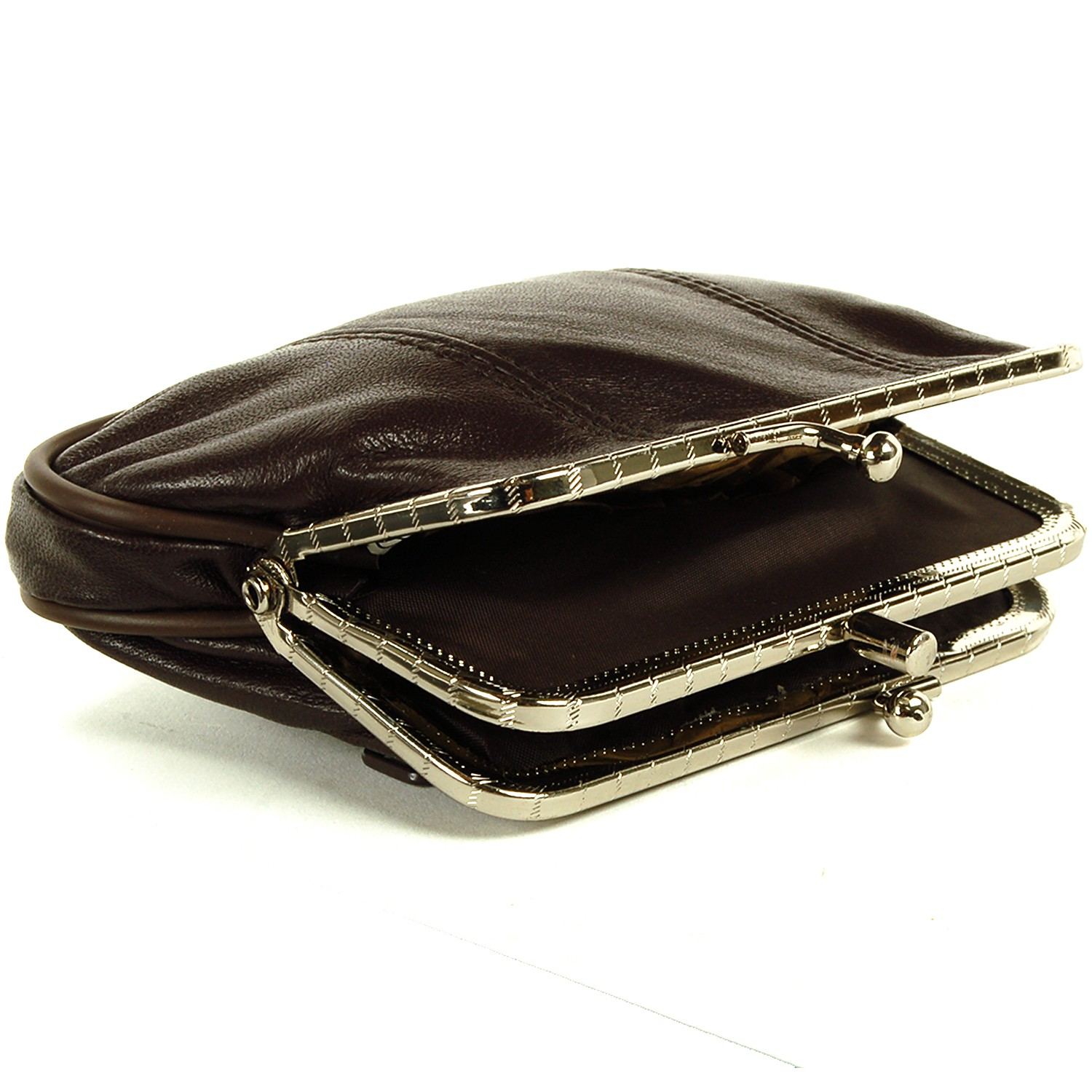Leather Womens Wallet Metal Frame Coin Purse ID Credit ...