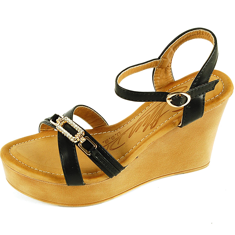 womens wedge heels 4 quot platform shoe gold rhinestone open