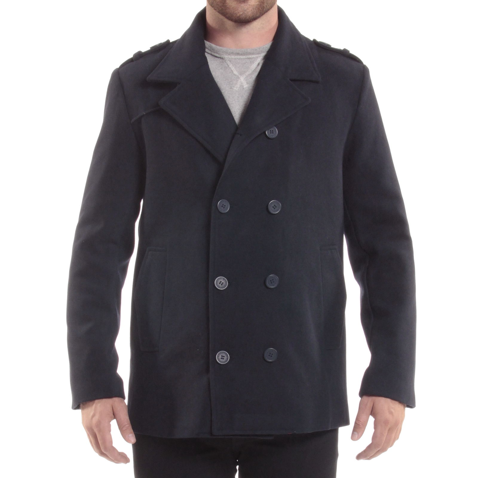 Double breasted wool mens pea coat