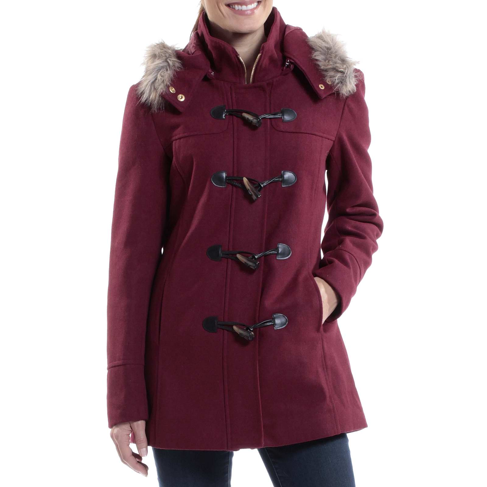 Alpine Swiss Duffy Women's Hooded Parka Fur Trim Wool Coat ...