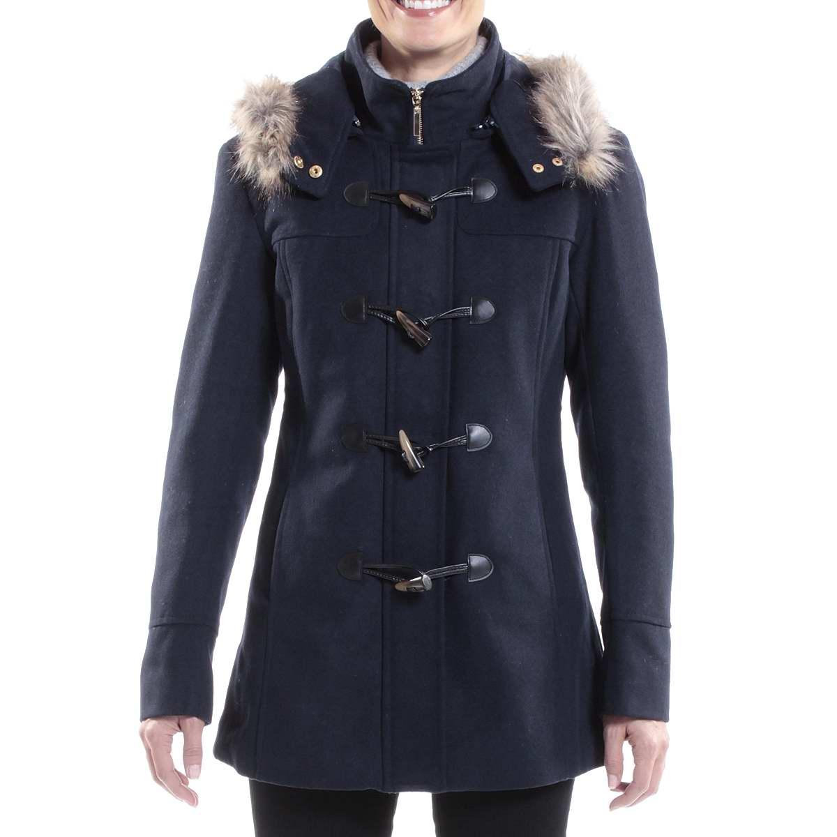 Wool toggle coat women