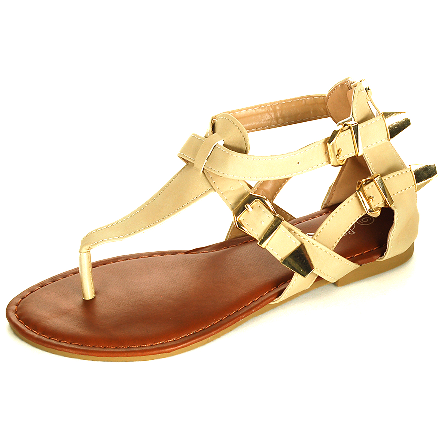 Womens Gladiator Sandals T-Strap Thongs Roman Flats Back ...