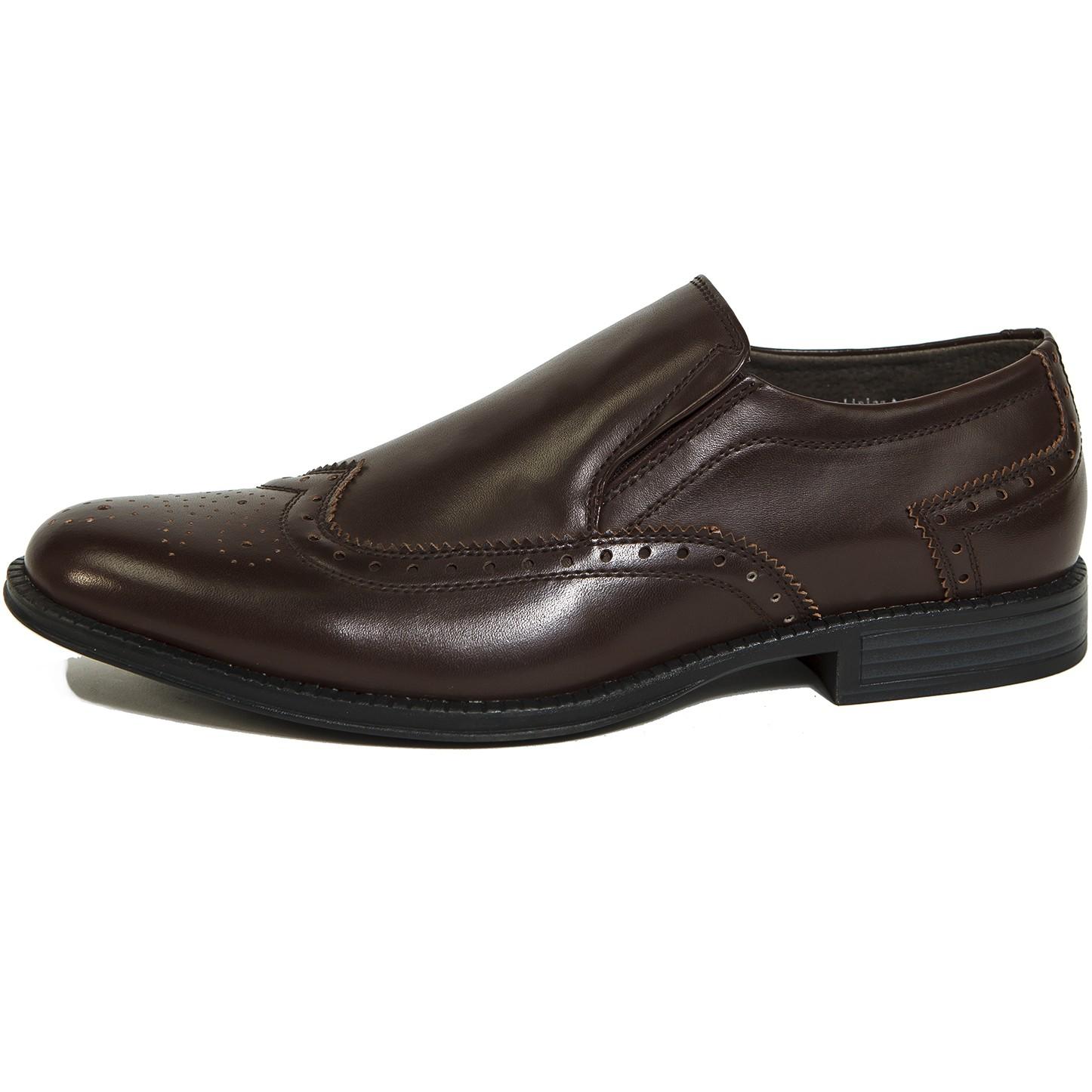 Alpine Swiss Basel Men's Wing Tip Dress Shoes Brogue Medallion Slip On Loafers