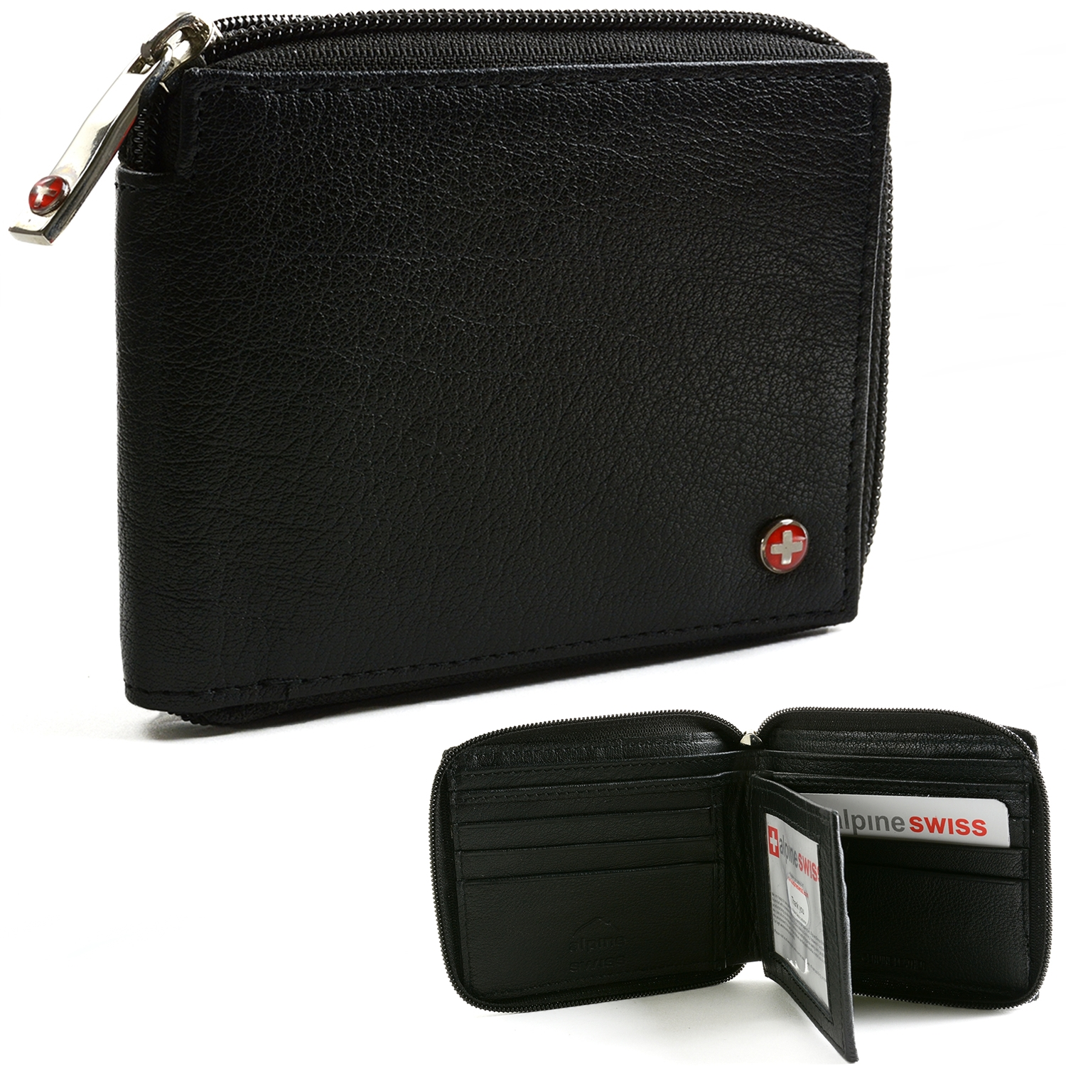 Alpine Swiss Rfid Blocking Mens Leather Wallet Zip Around
