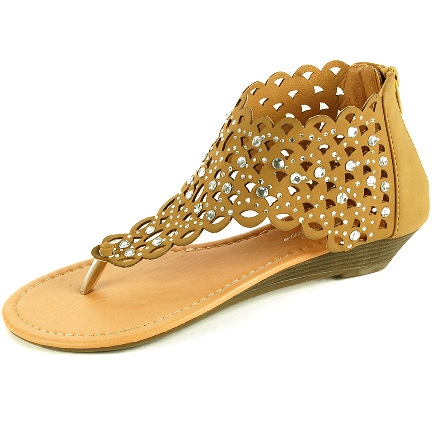 Women's sandals with bling - Womens Gladiator Sandals Wedge Heel Thongs Dressy Ankle