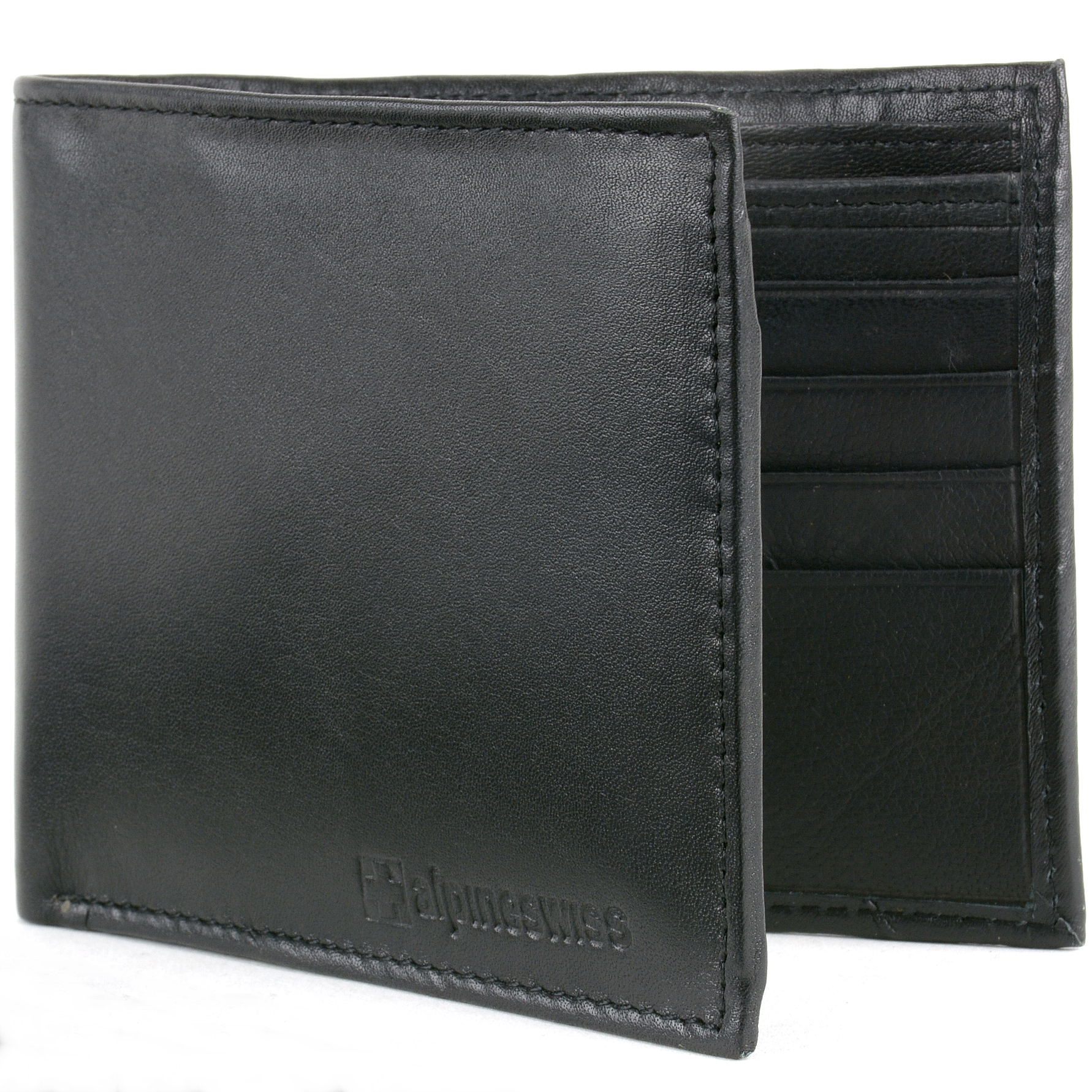 Alpine Swiss Mens Leather Wallet Money Clip Bifold Trifold ...