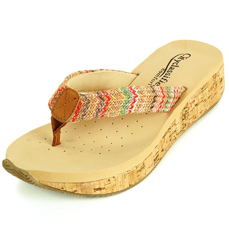 Womens Sandals Wedge Heel Cork Mule Padded Comfort Open ...