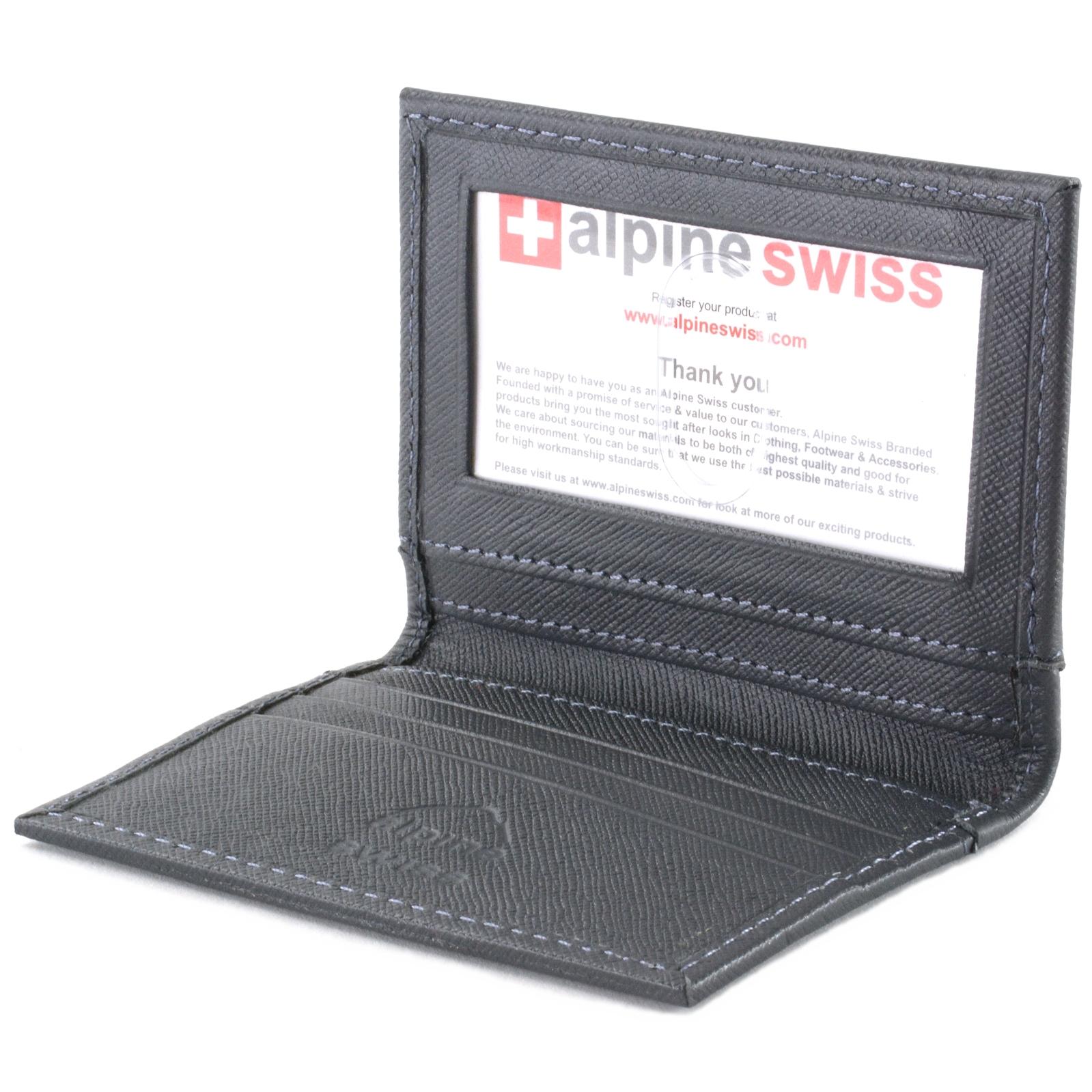 Alpine Swiss Thin Front Pocket Wallet Business Card Case 2 ID Window 6 Card Slot