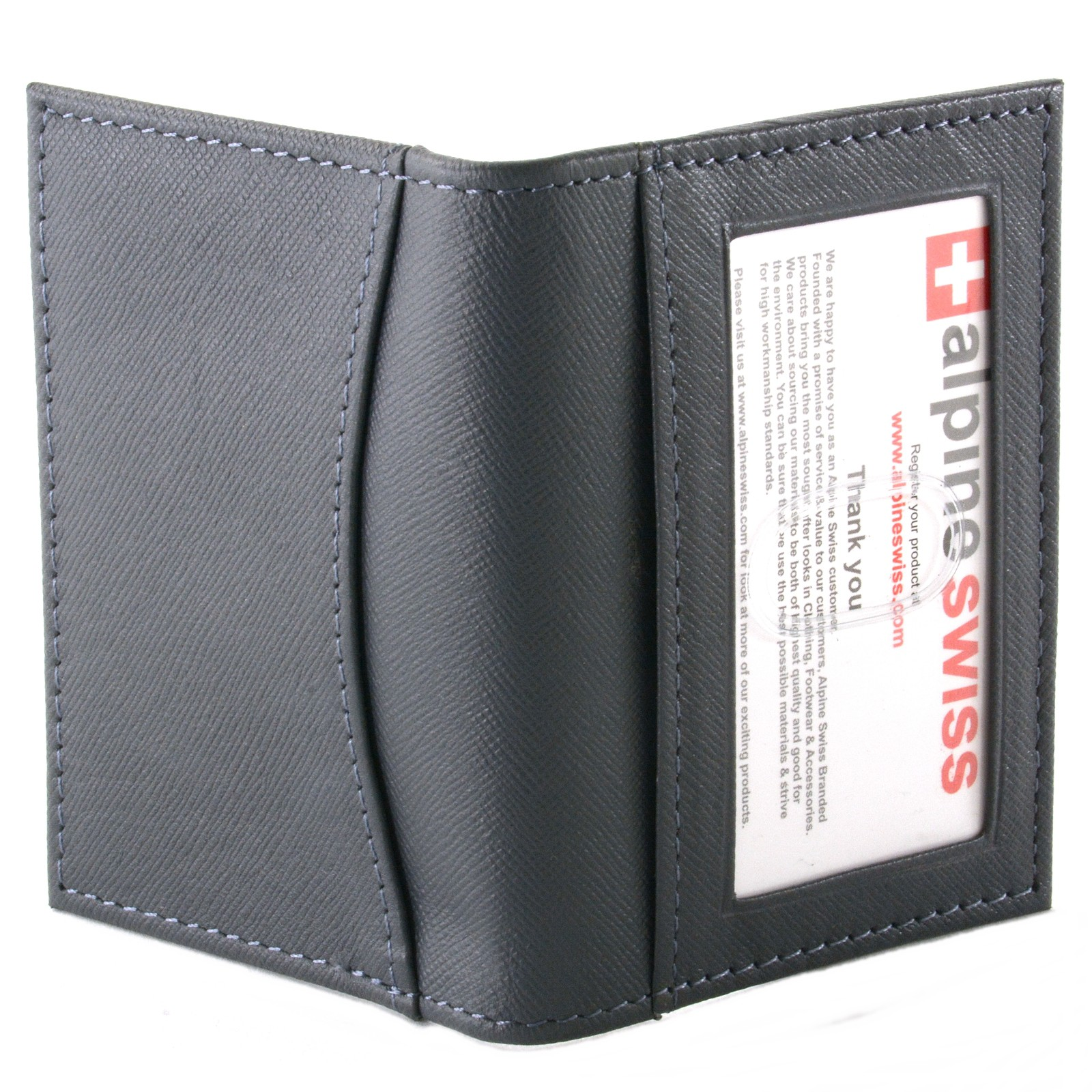 Alpine swiss thin front pocket wallet business card case 2 for 2 id window wallet