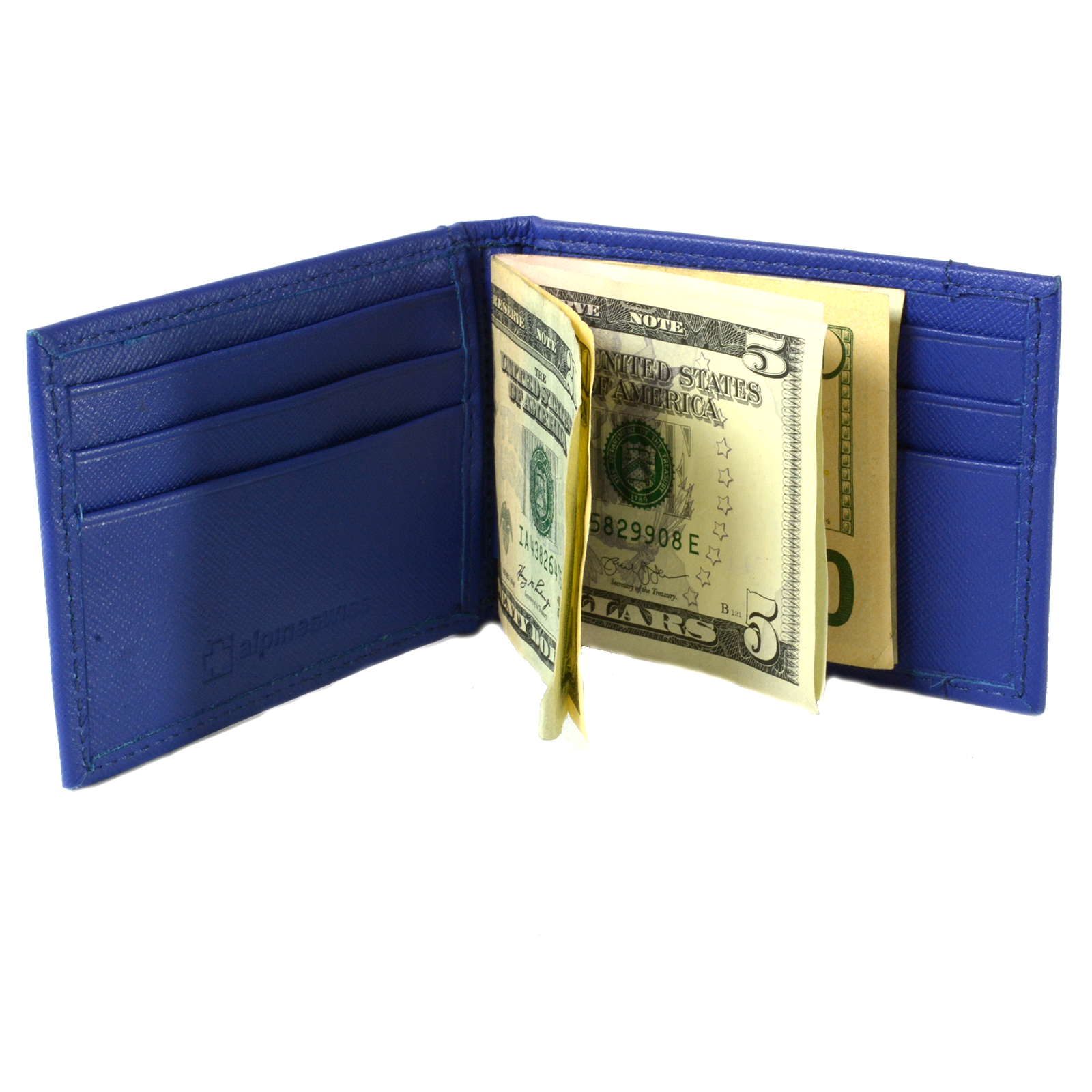 Alpine Swiss Mens Bifold Money Clip Spring Loaded Leather ID Front Pocket Wallet