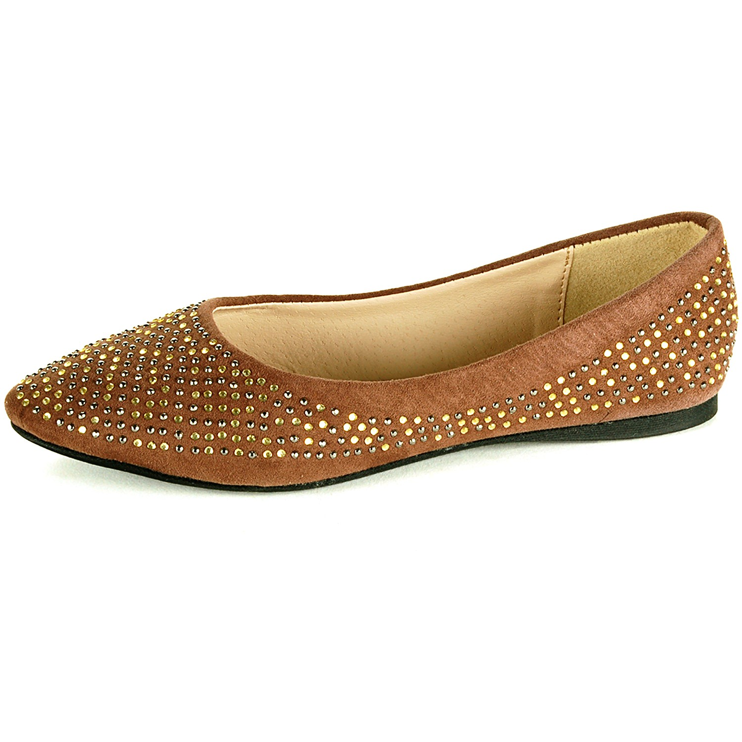 Womens Ballet Flats Slip On Rhinestone Shoe Faux Suede