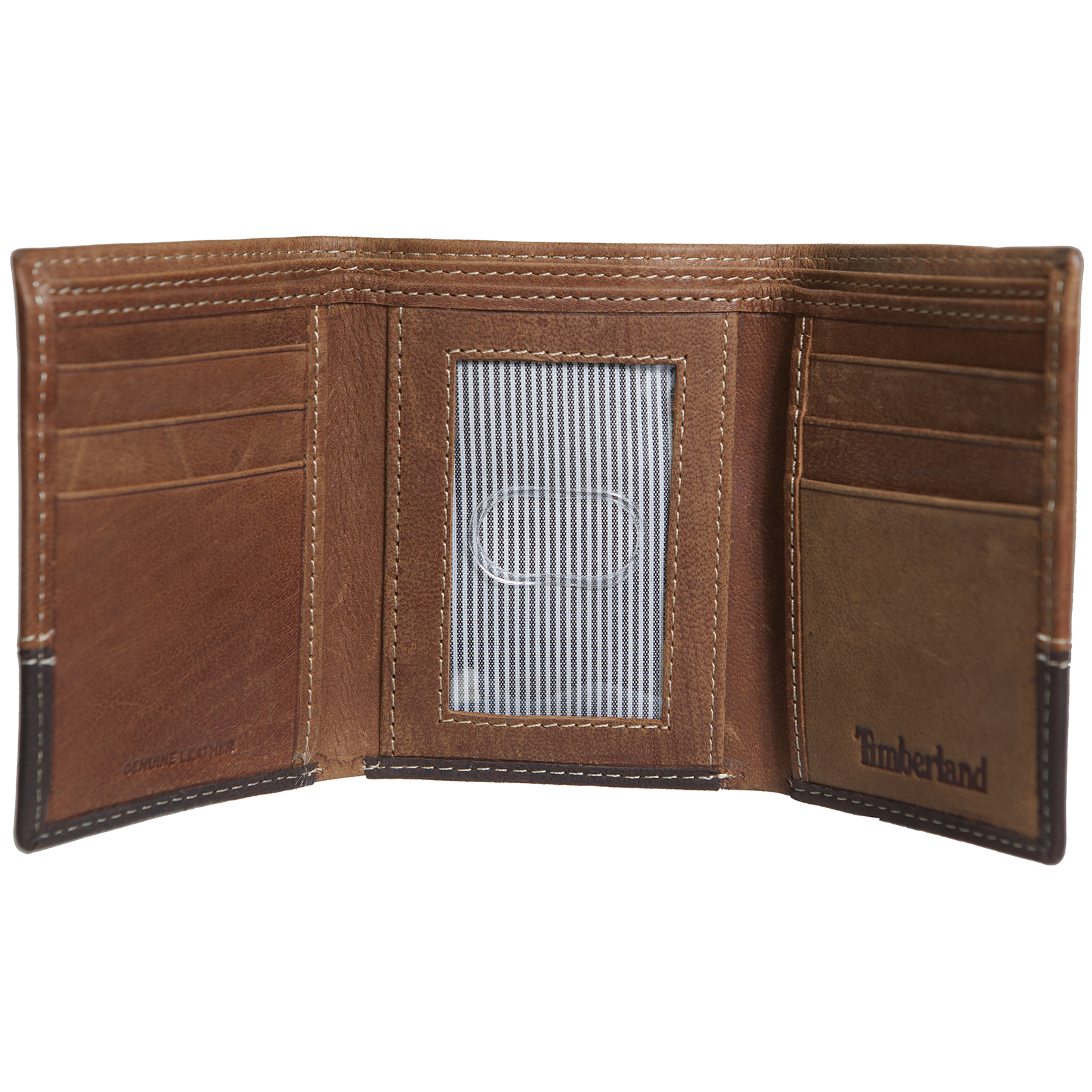 Timberland mens leather trifold two tone id card window for 2 id window wallet