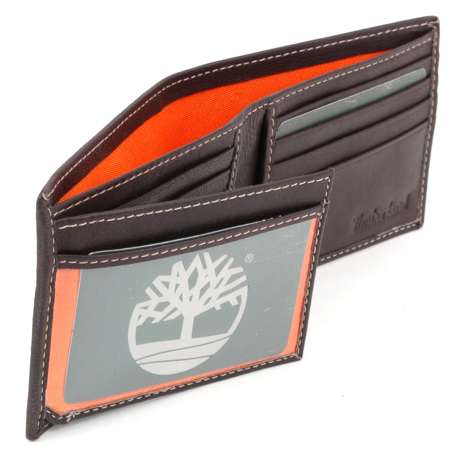 Timberland mens wallet commuter bifold real leather for 2 id window wallet